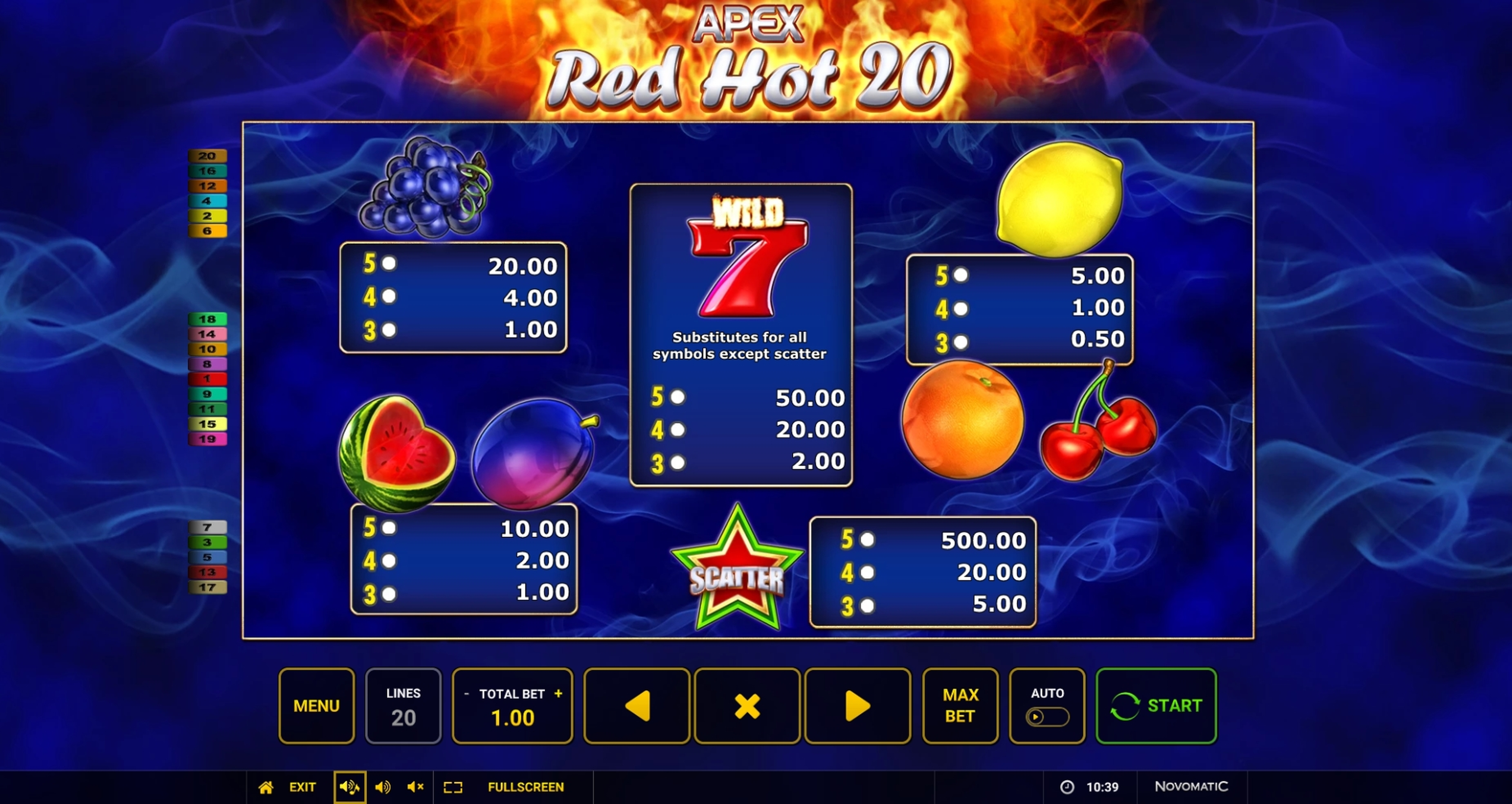 Info of Red Hot 20 Slot Game by Apex Gaming