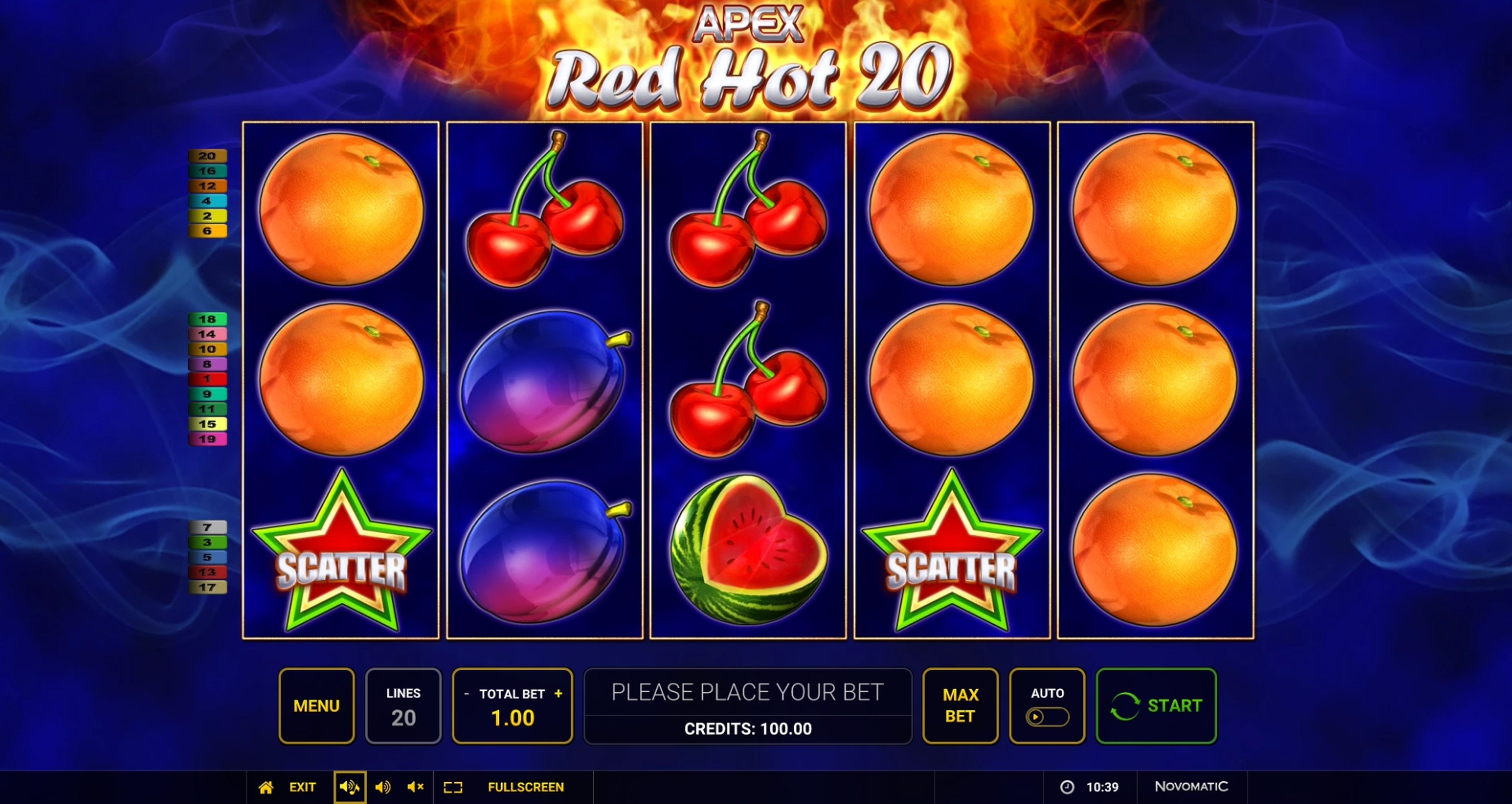 Reels in Red Hot 20 Slot Game by Apex Gaming