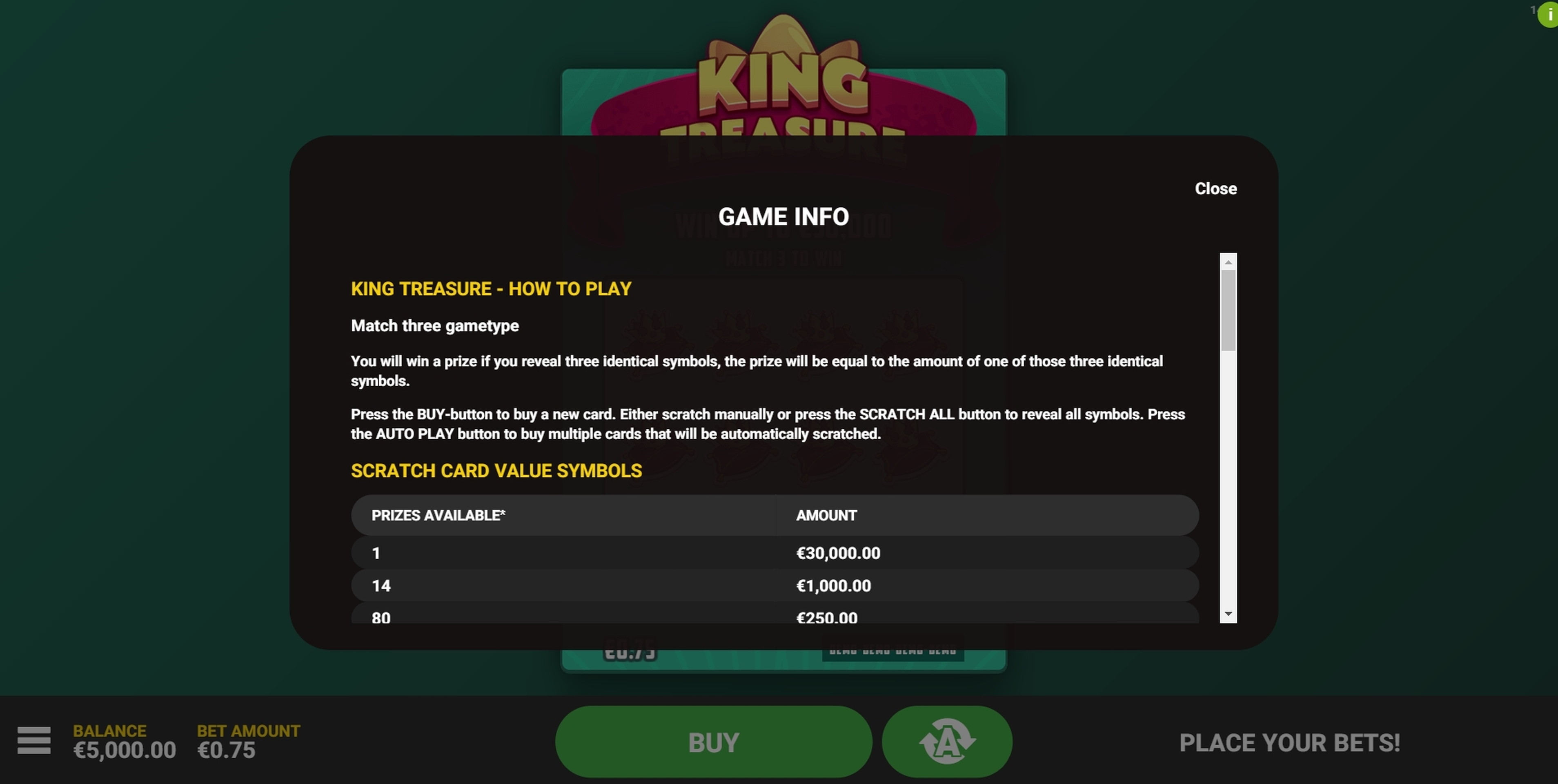 Info of King Treasure Slot Game by Hacksaw Gaming