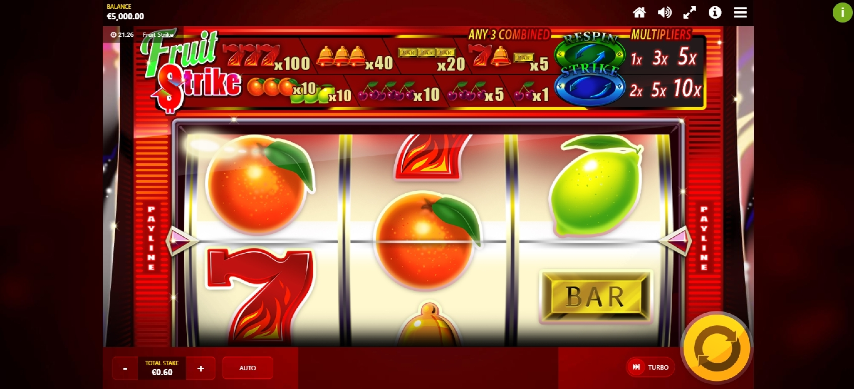 Reels in Fruit Strike (Max Win Gaming) Slot Game by Max Win Gaming