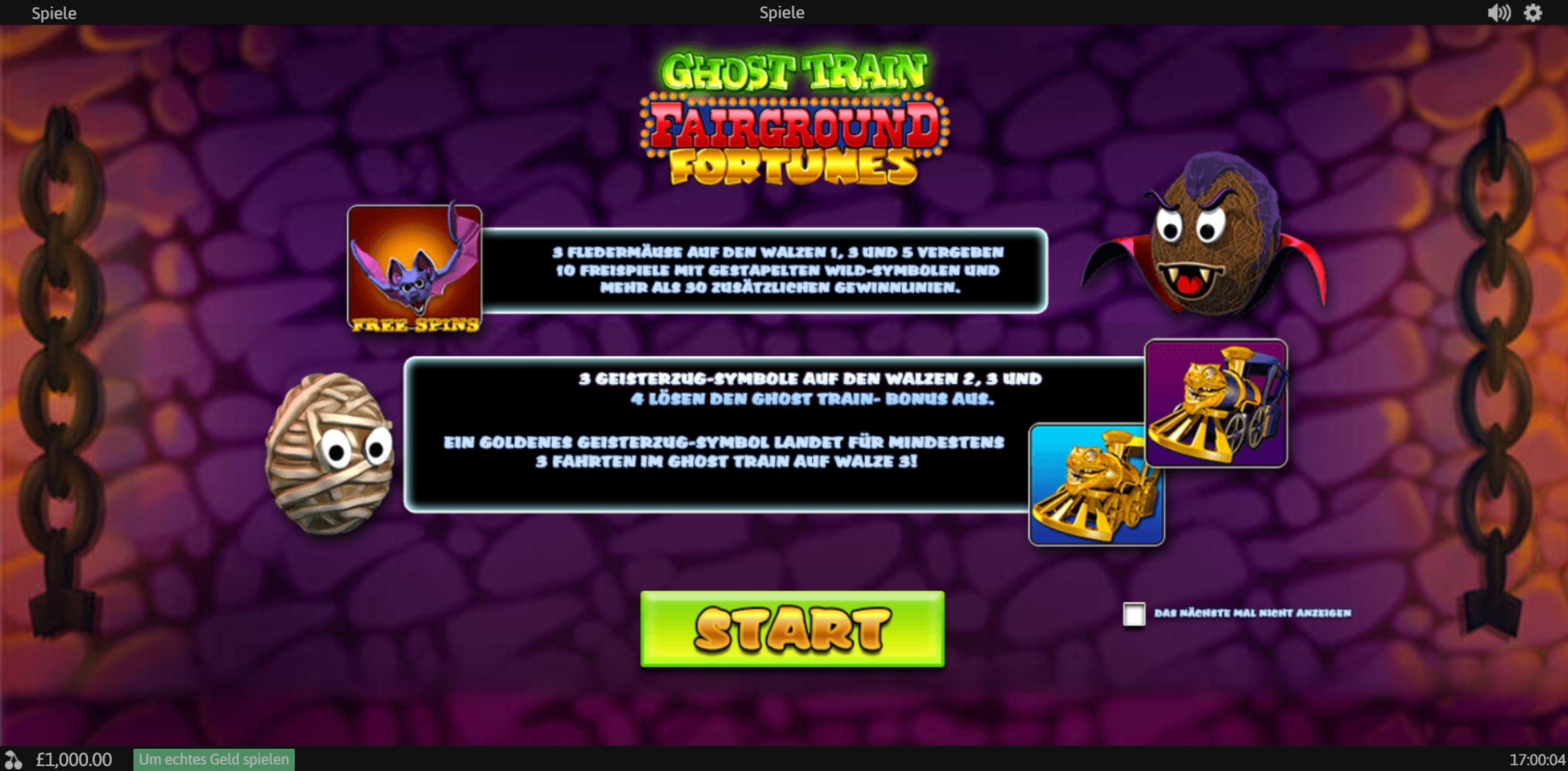 Play Fairground Fortunes Ghost Train Free Casino Slot Game by Psiclone Games