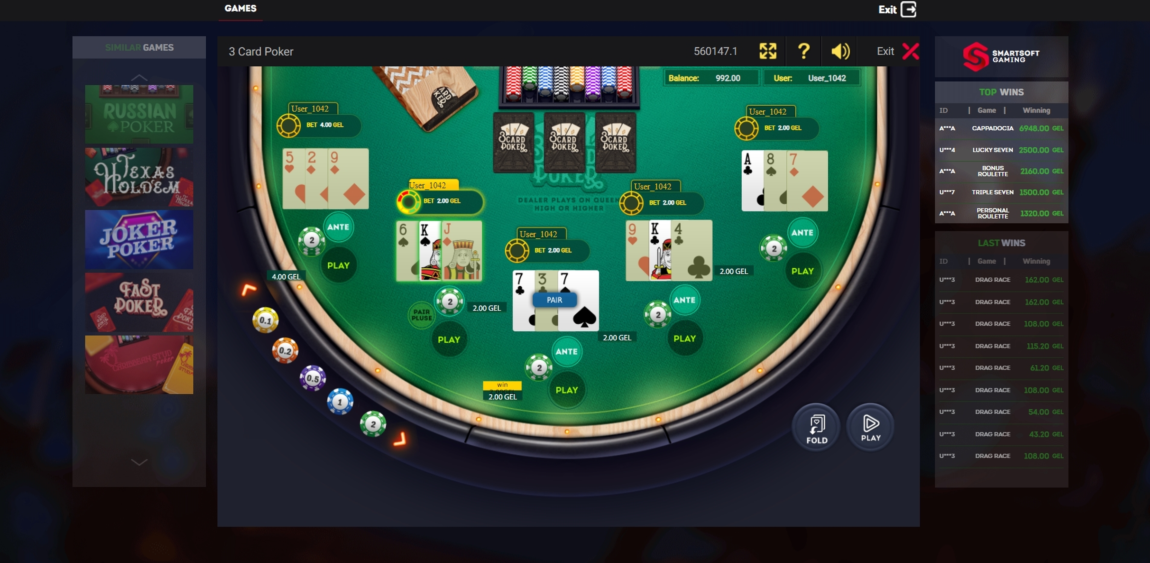 Win Money in 3 Card Poker Free Slot Game by Smartsoft Gaming