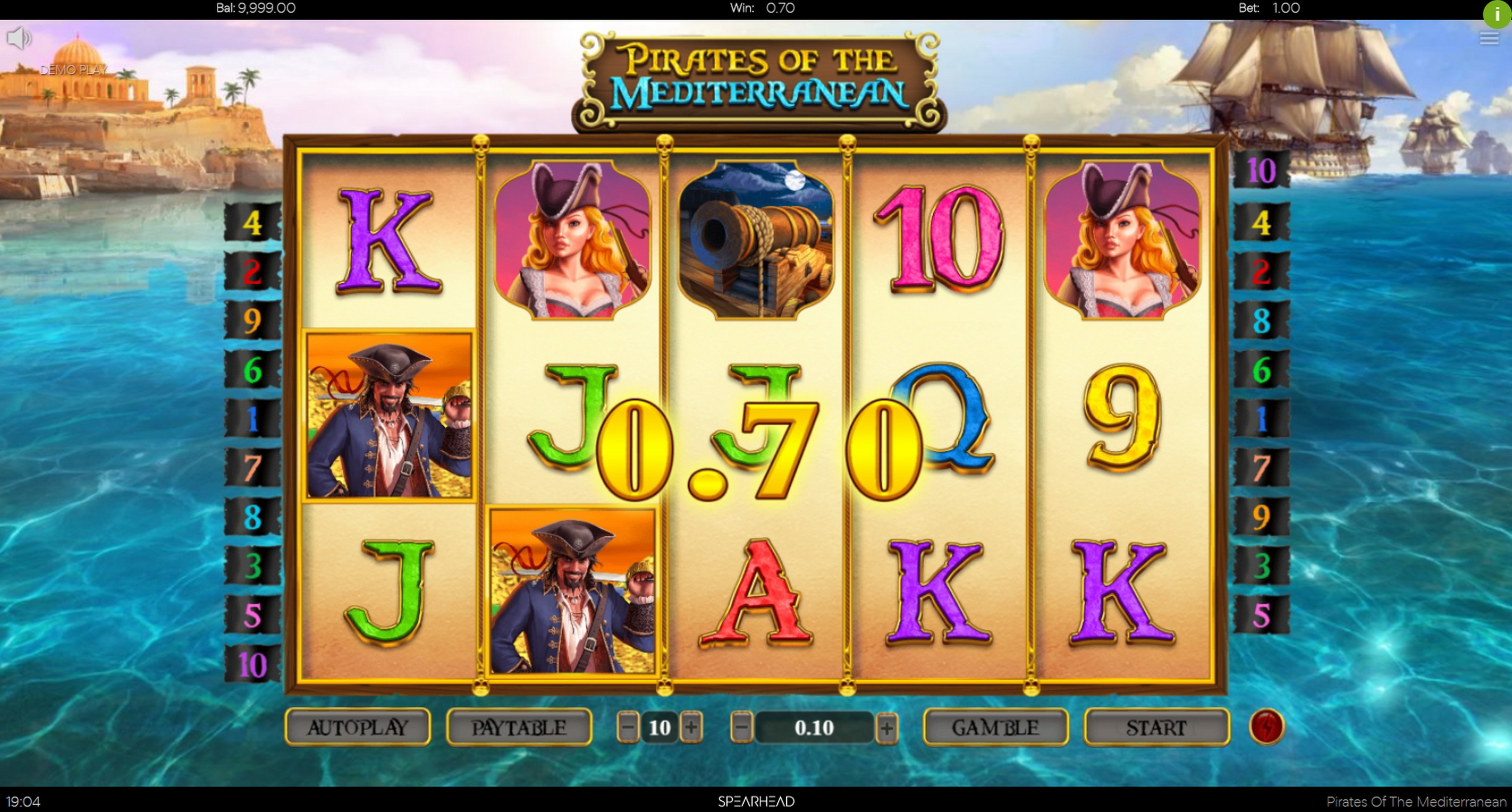 Win Money in Pirates Of The Mediterranean Free Slot Game by Spearhead Studios