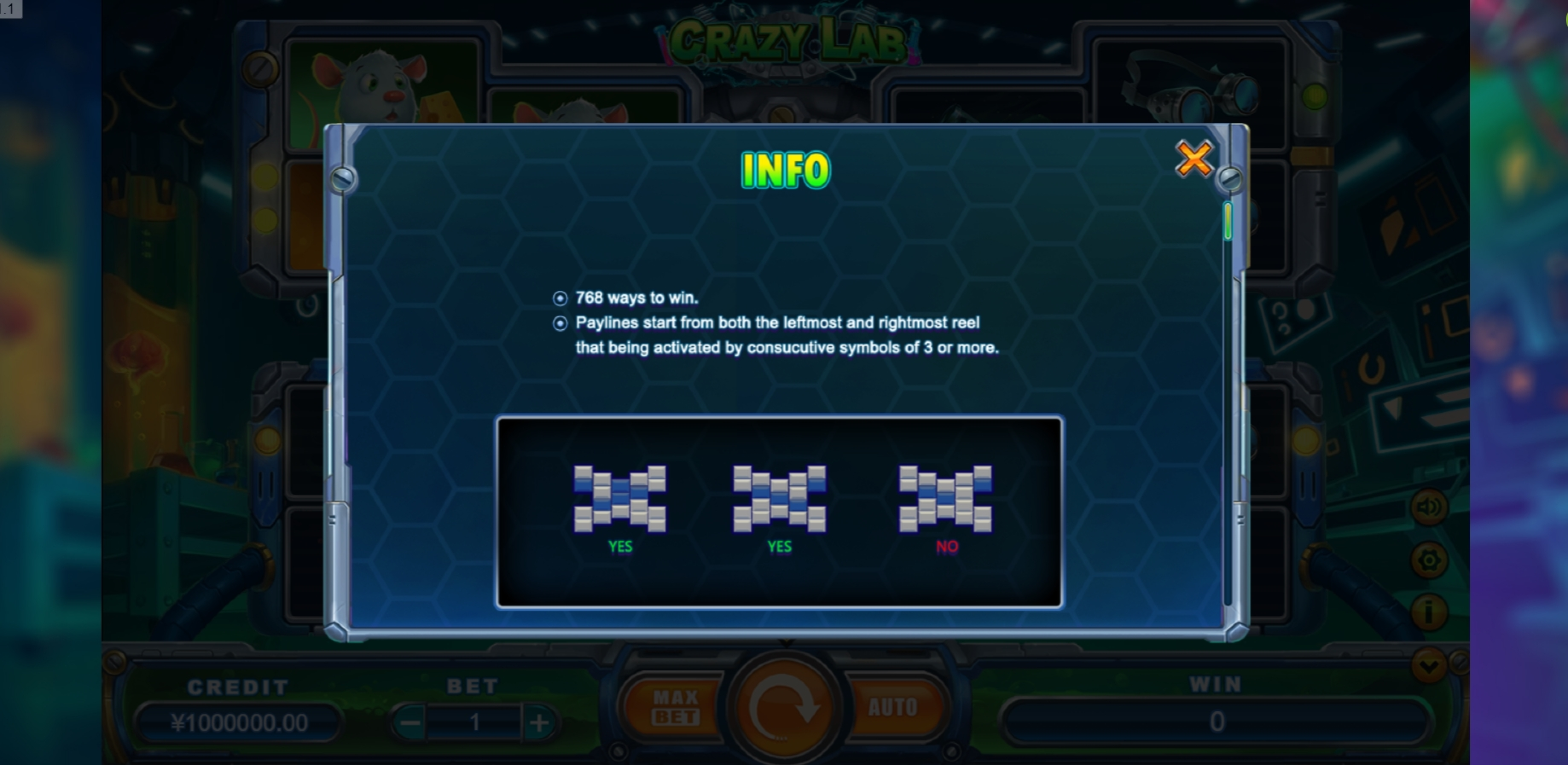 Info of Crazy Lab Slot Game by TIDY