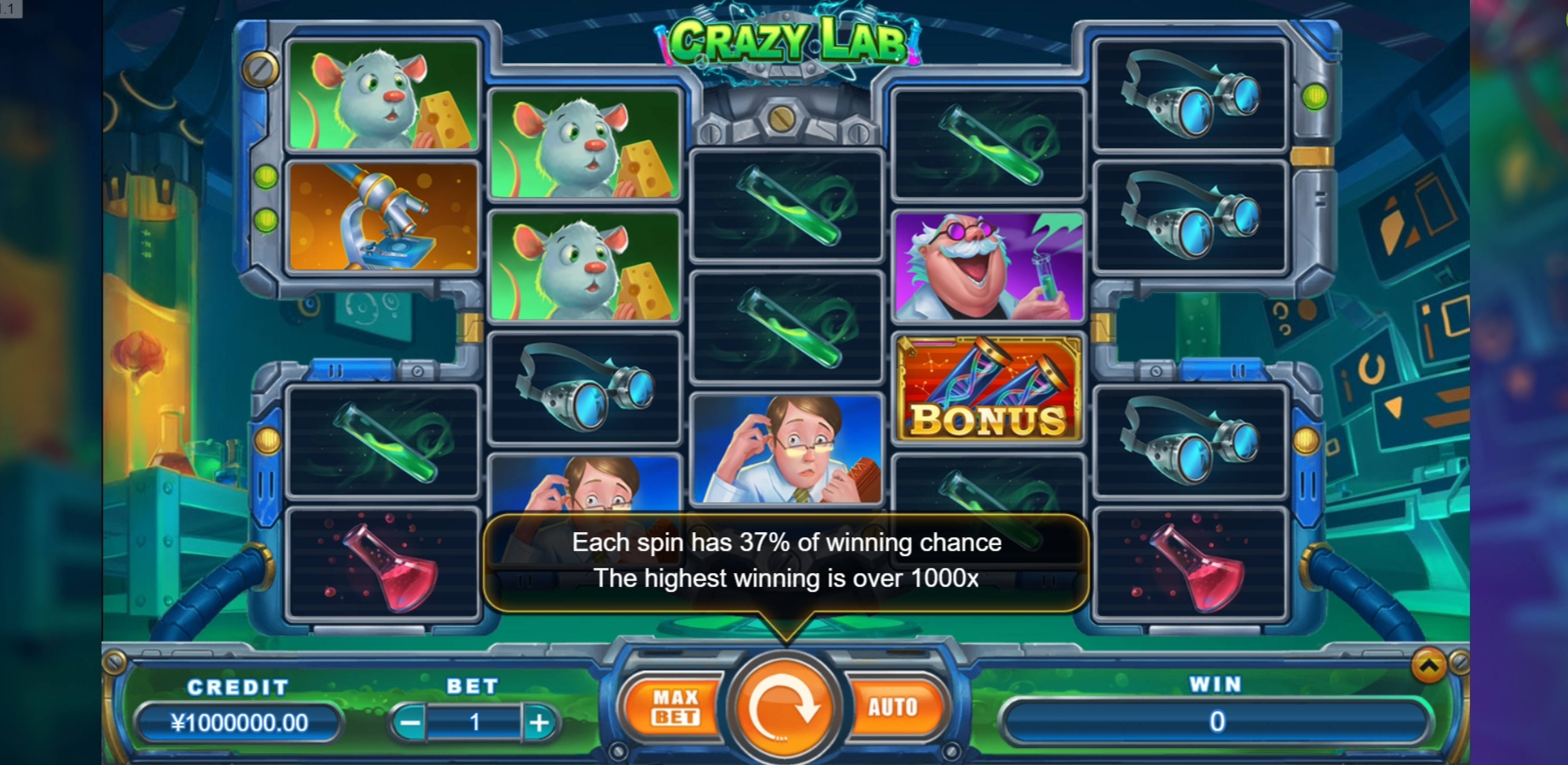 Reels in Crazy Lab Slot Game by TIDY