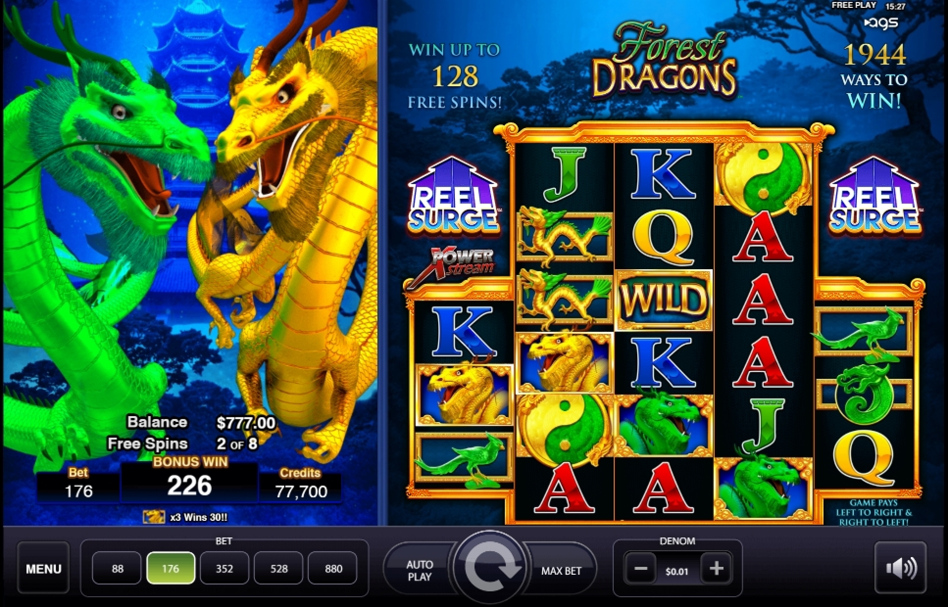 Reels in Forest Dragons Slot Game by AGS