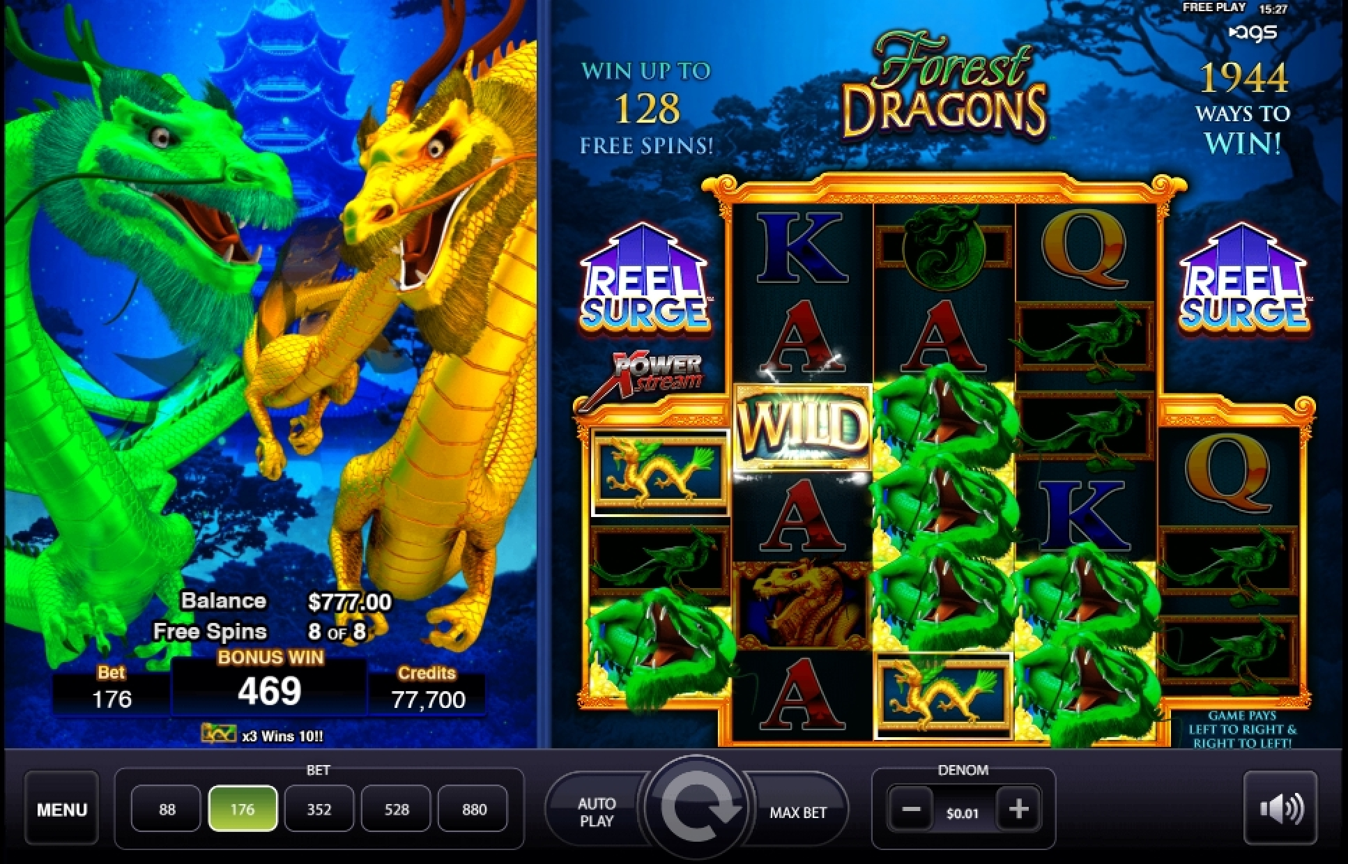 Win Money in Forest Dragons Free Slot Game by AGS