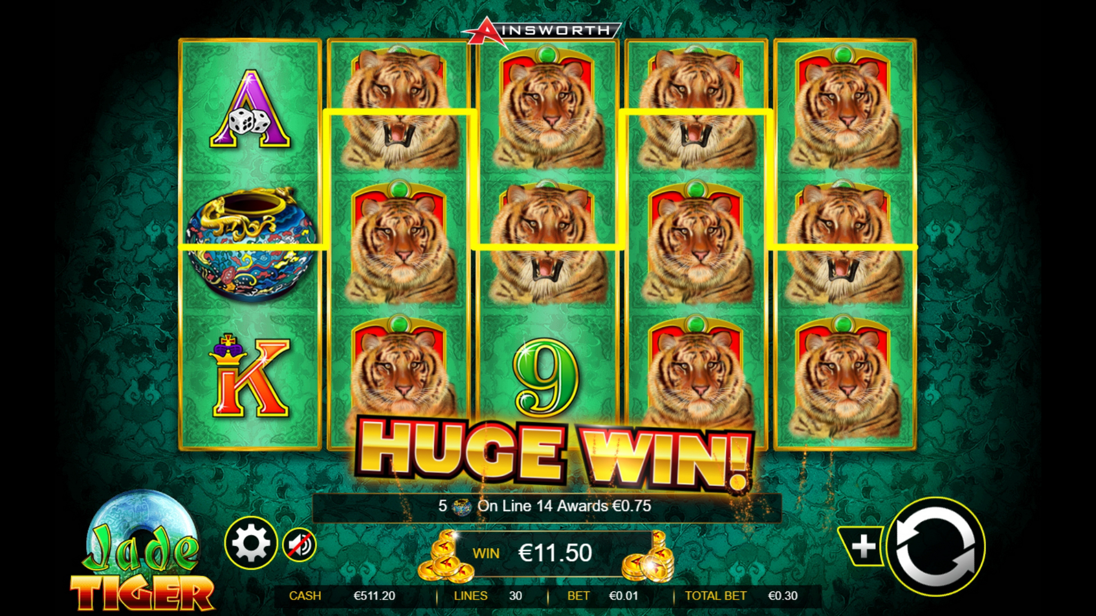 Win Money in Jade Tiger Free Slot Game by Ainsworth Gaming Technology