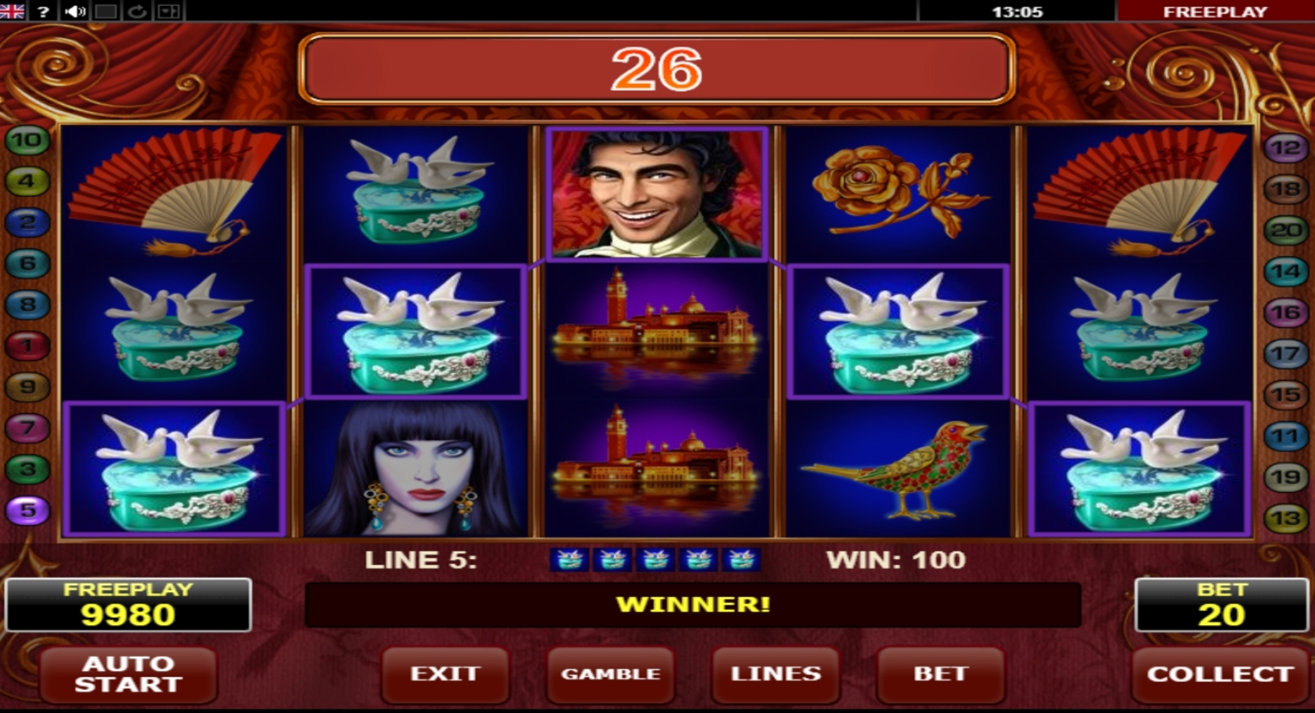 Win Money in Casanova Free Slot Game by Amatic Industries
