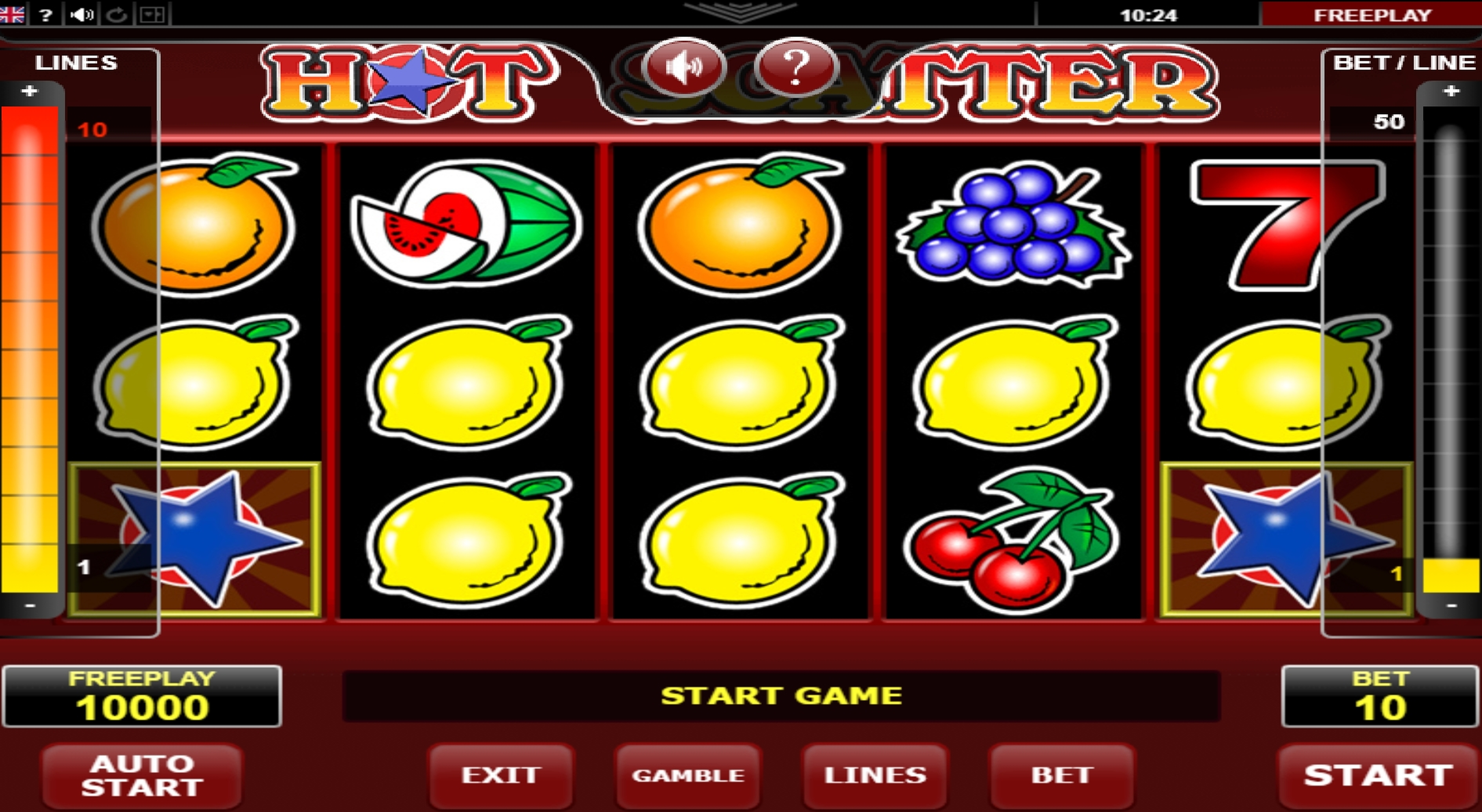 Reels in Hot Scatter Slot Game by Amatic Industries