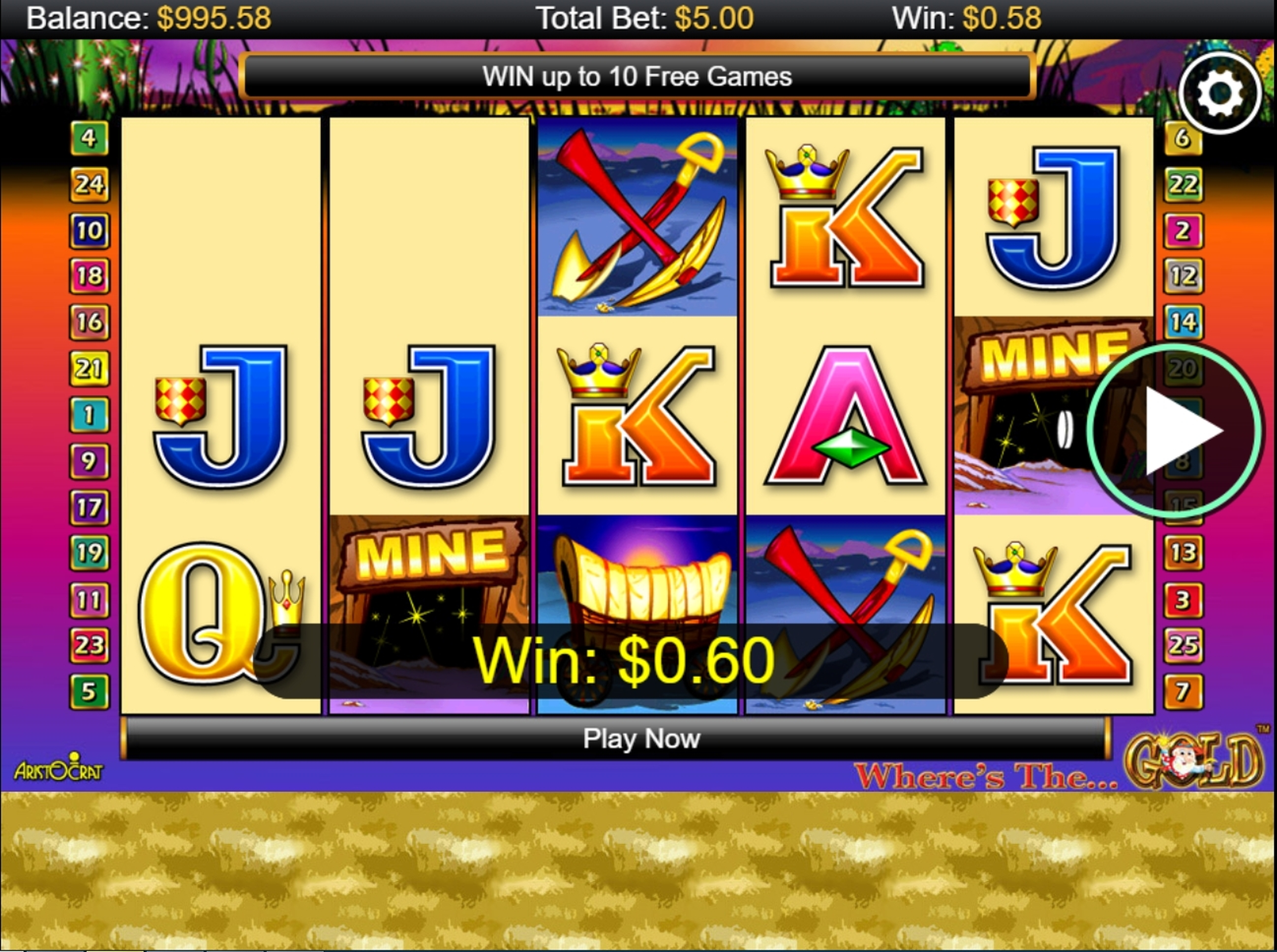 Win Money in Where's The Gold Free Slot Game by Aristocrat