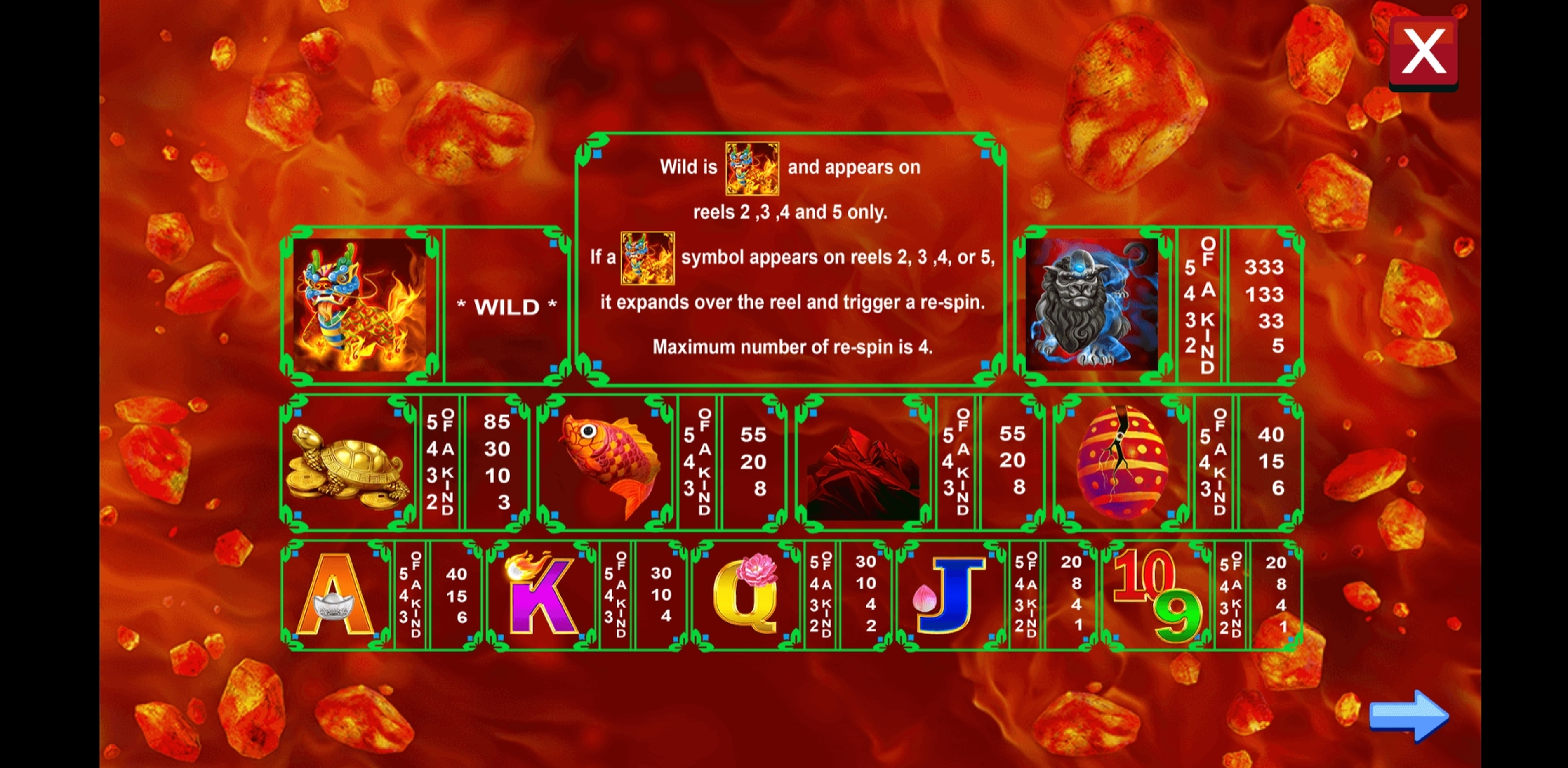 Info of Mythical Fire Qilin Slot Game by August Gaming