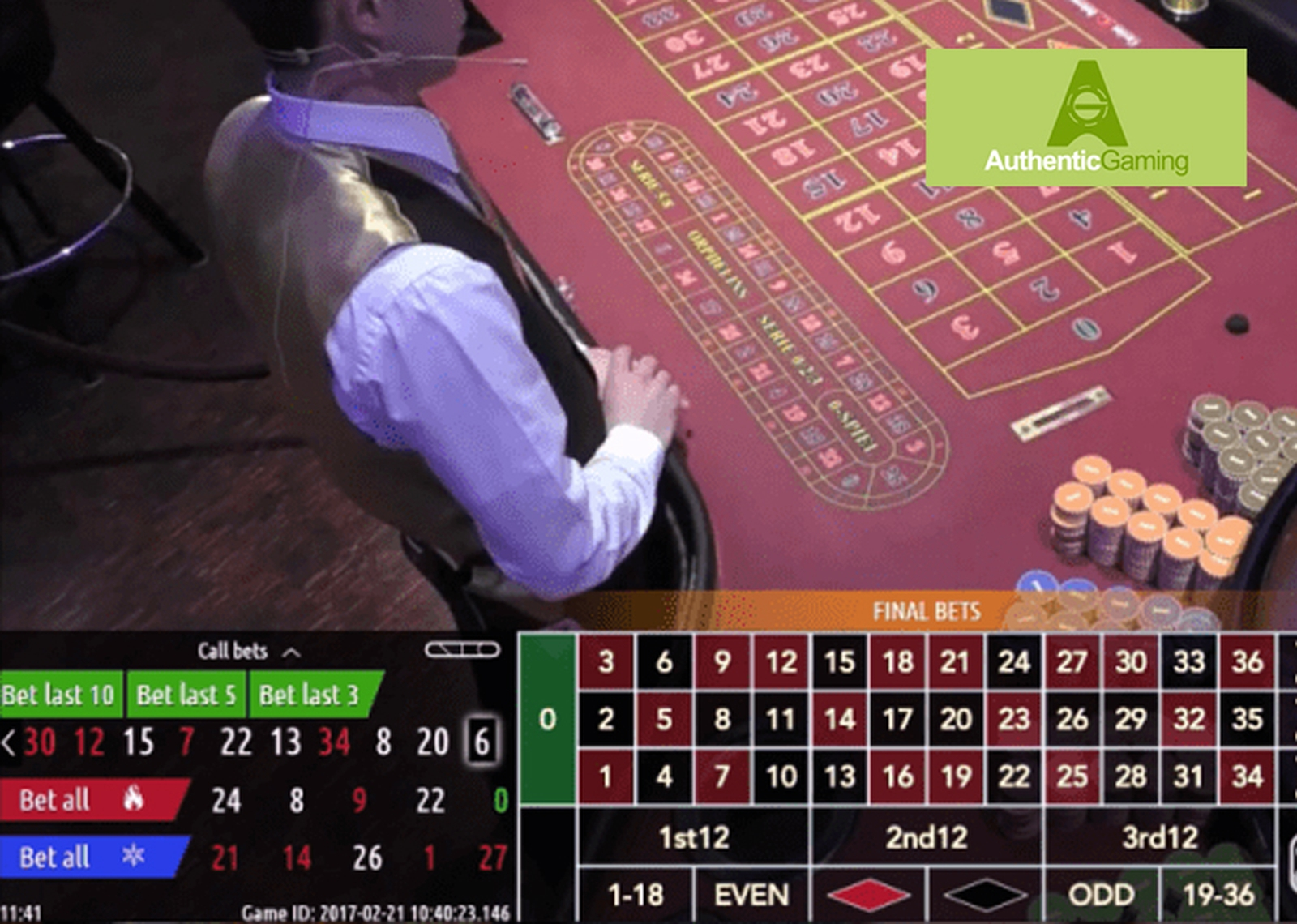The Roulette Platinum Live Casino Online Slot Demo Game by Authentic Gaming