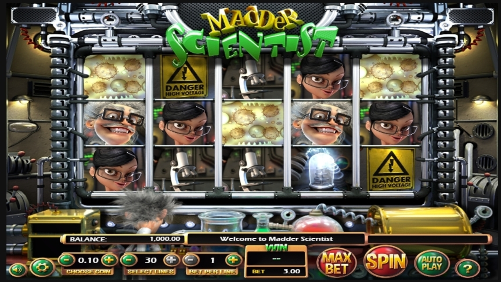 Reels in Madder Scientist Slot Game by Betsoft
