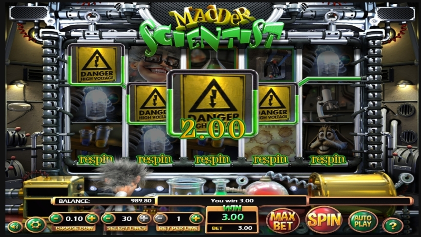 Win Money in Madder Scientist Free Slot Game by Betsoft