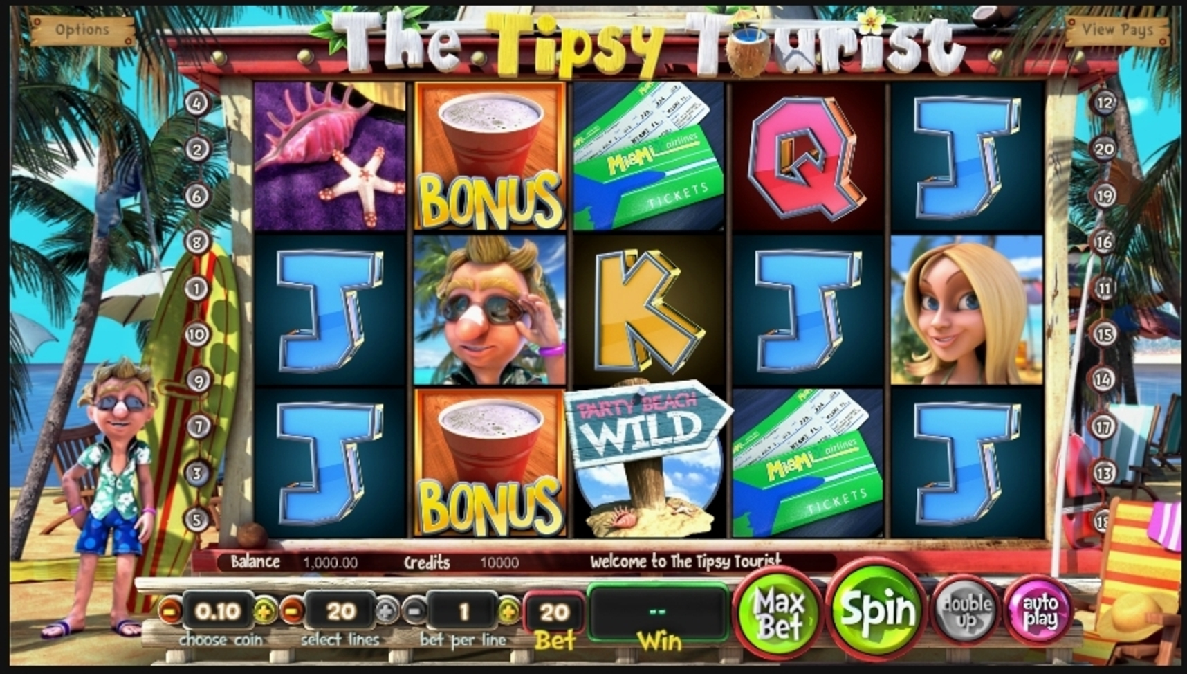Reels in The Tipsy Tourist Slot Game by Betsoft