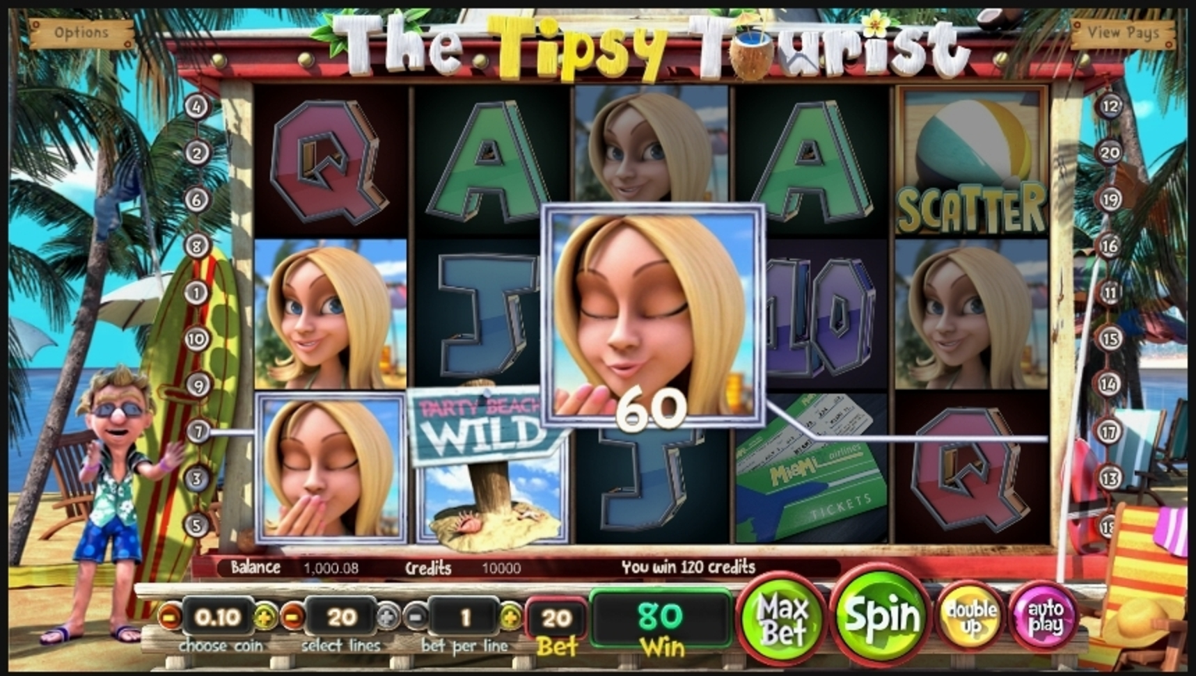 Win Money in The Tipsy Tourist Free Slot Game by Betsoft