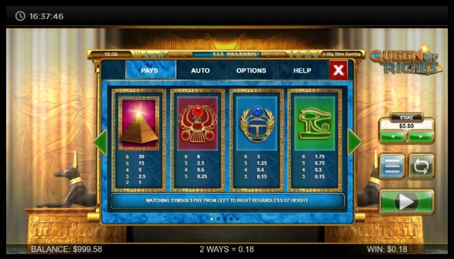 Info of Queen of Riches Slot Game by Big Time Gaming