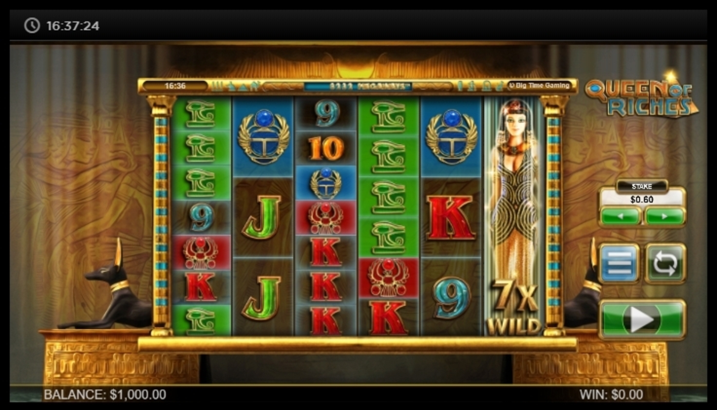Reels in Queen of Riches Slot Game by Big Time Gaming