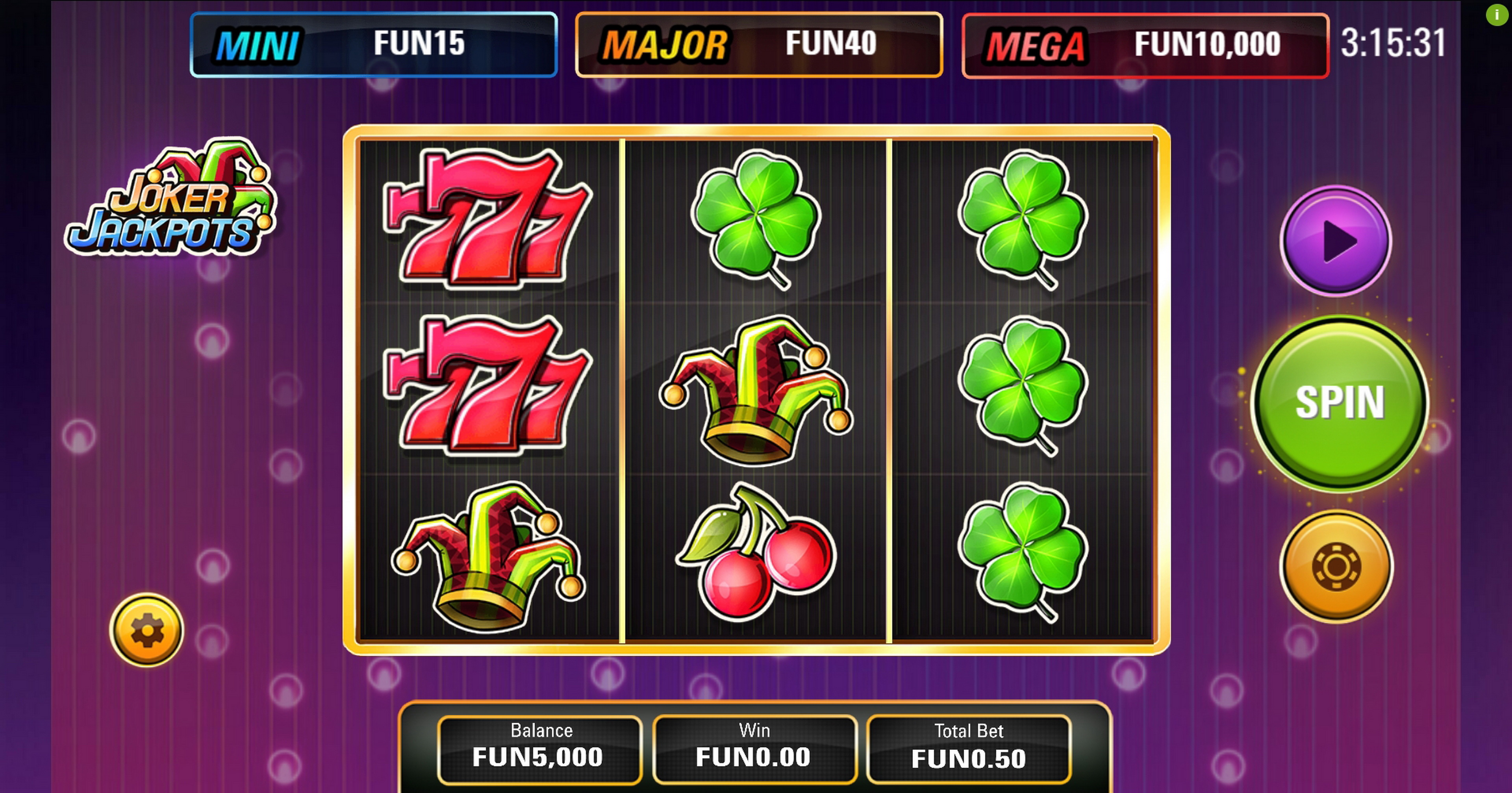 Reels in Joker Jackpots (Electric Elephant) Slot Game by Electric Elephant