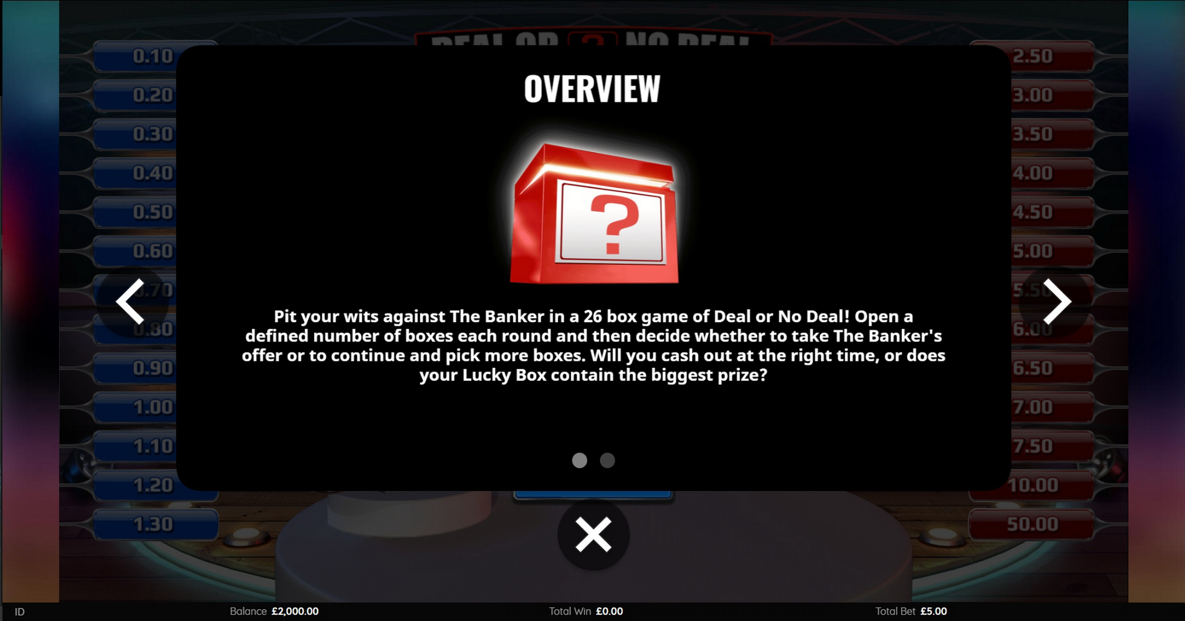 Info of Deal Or No Deal (Endemol Games) Slot Game by Endemol Games
