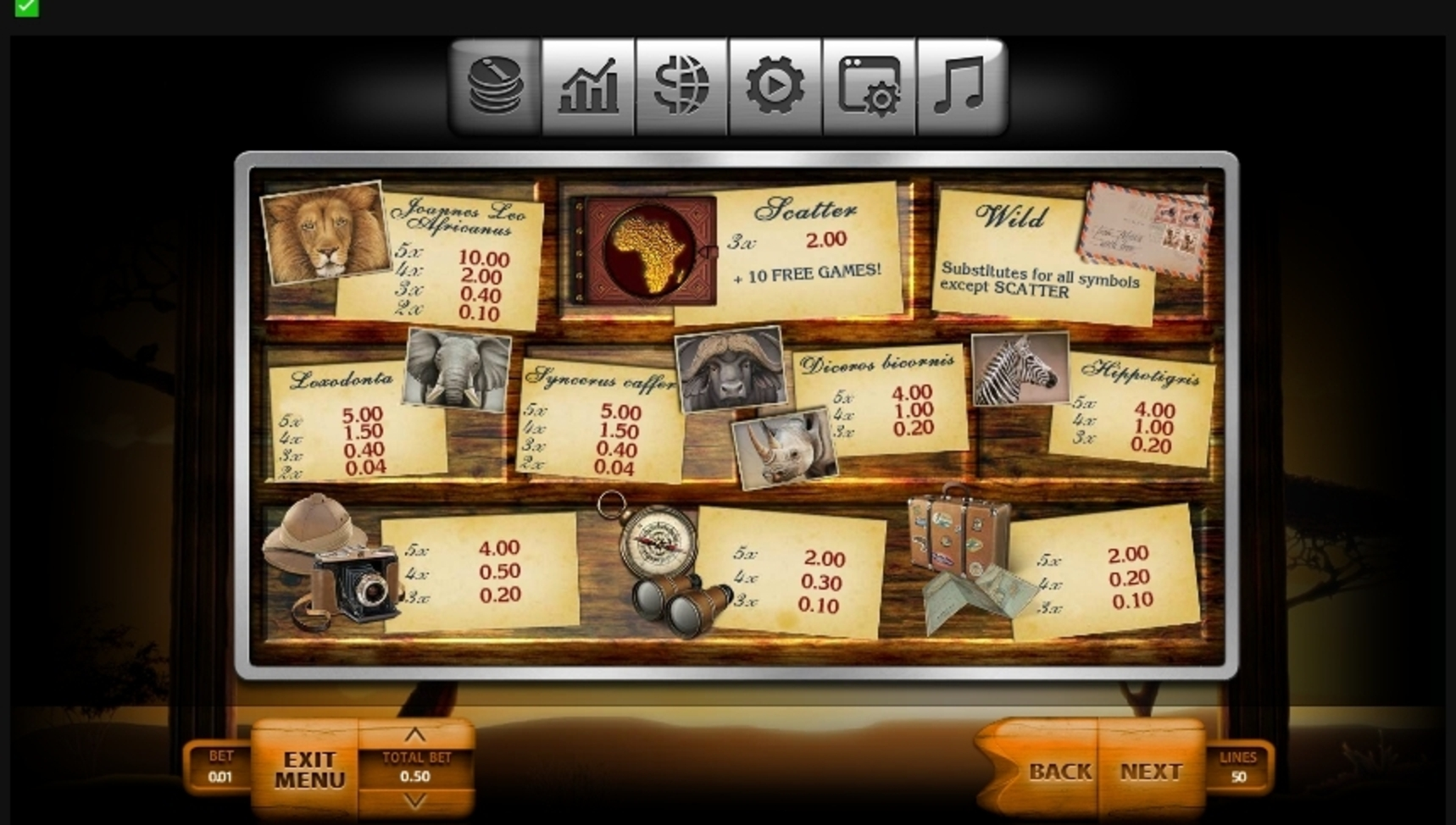 Info of Safari (Endorphina) Slot Game by Endorphina