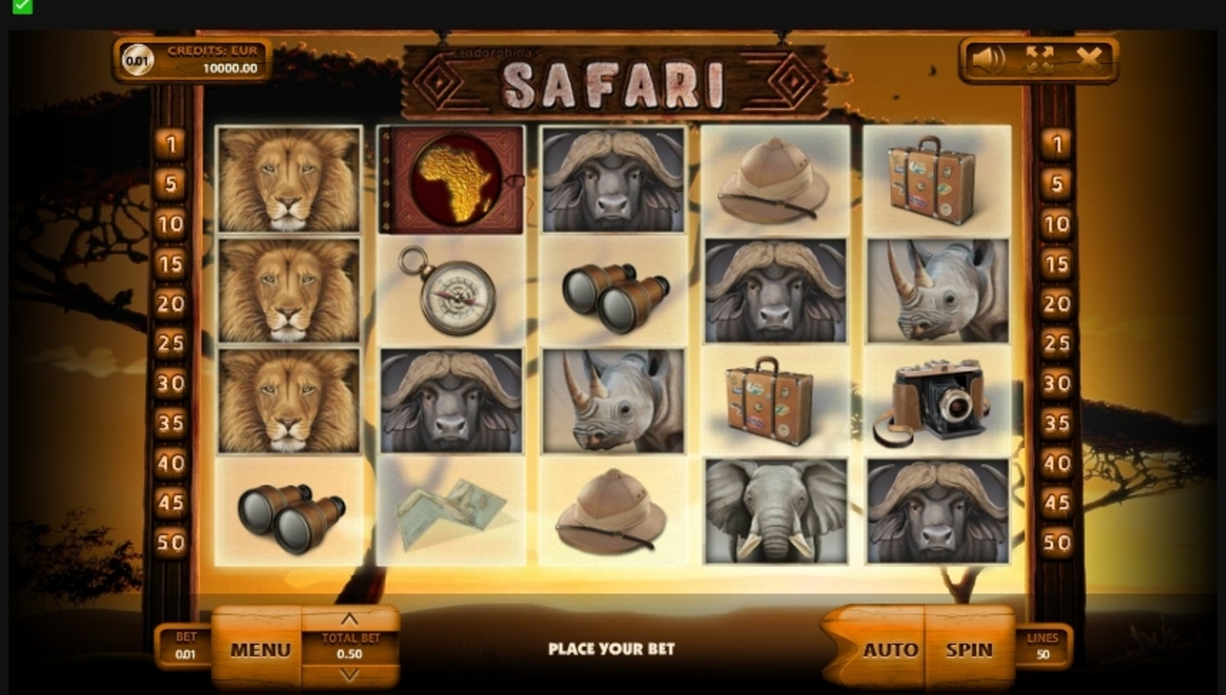 Reels in Safari (Endorphina) Slot Game by Endorphina