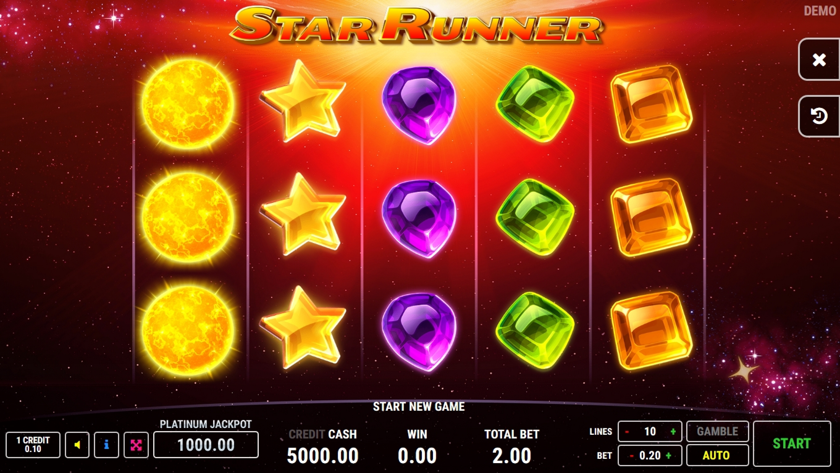Reels in Star Runner Slot Game by Fazi Gaming