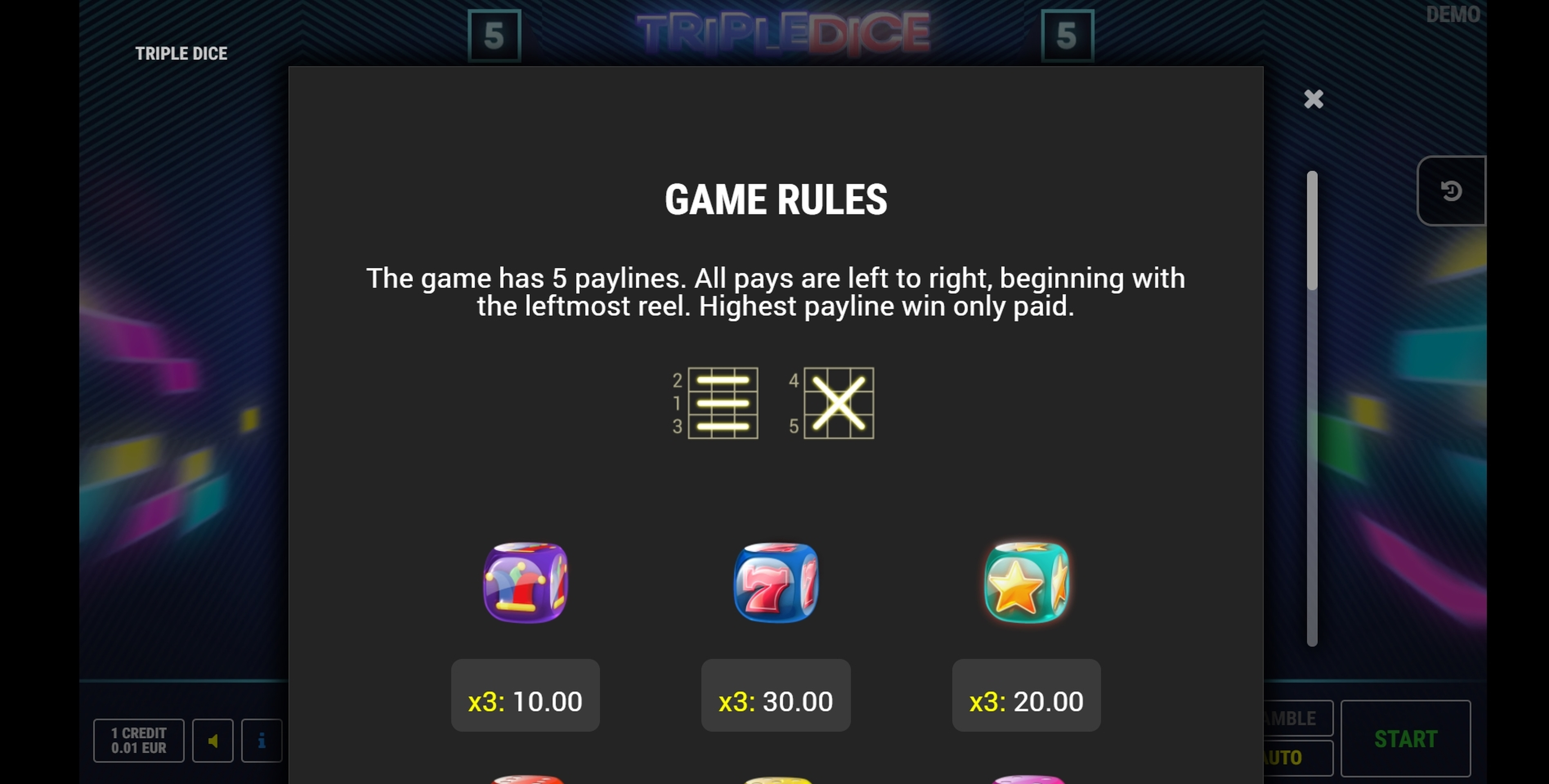 Info of Triple Dice Slot Game by Fazi Gaming