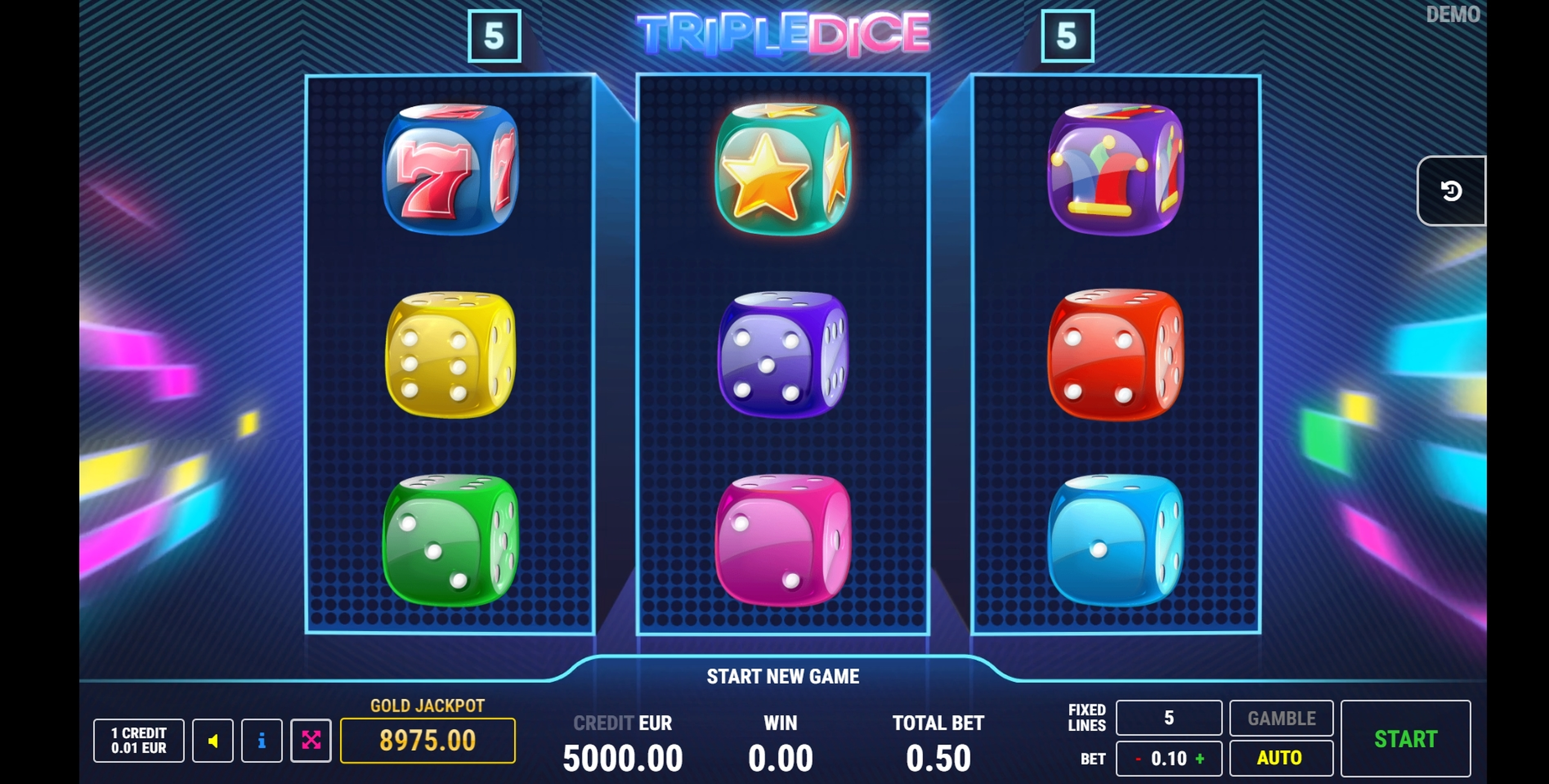 Reels in Triple Dice Slot Game by Fazi Gaming
