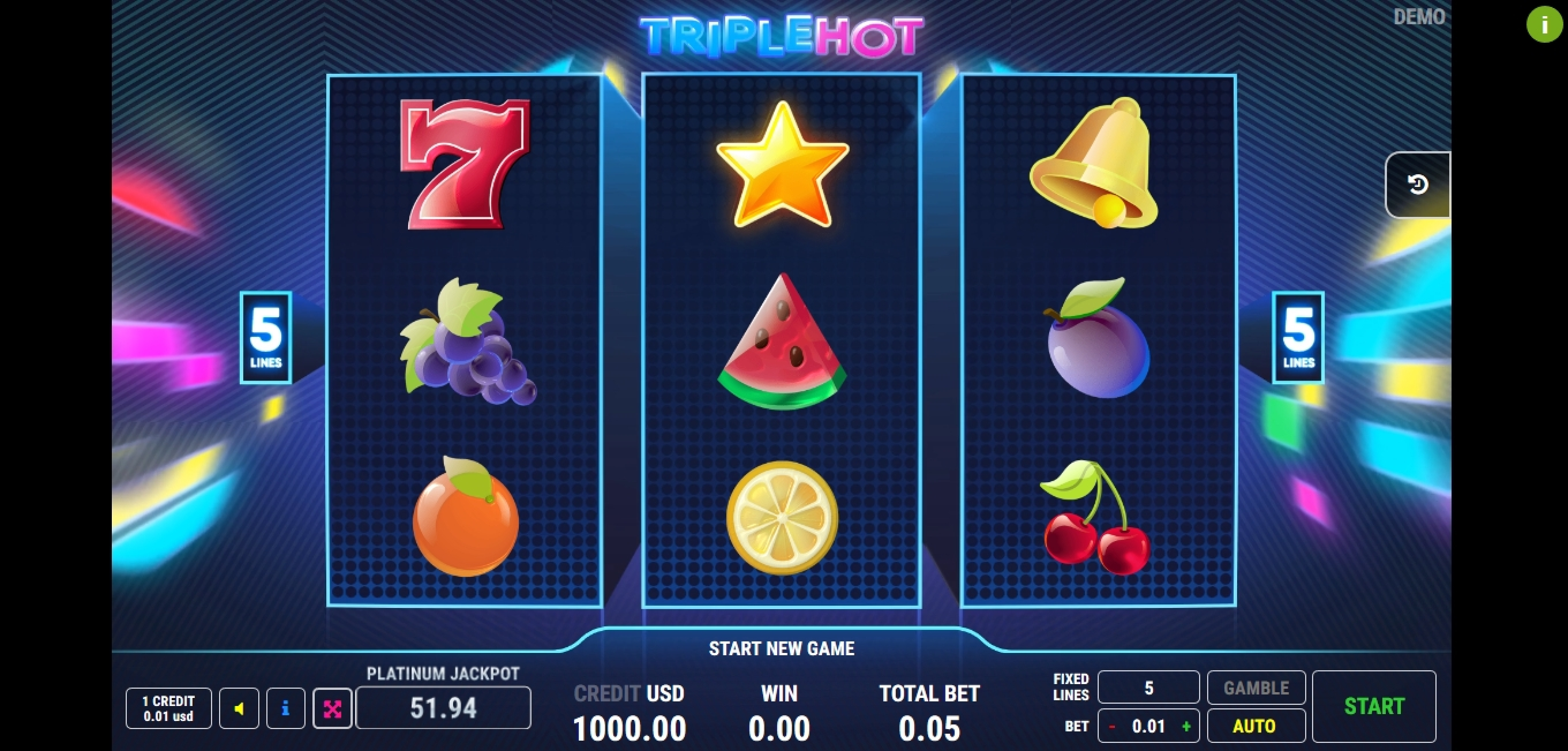 Reels in Triple Hot	 Slot Game by Fazi