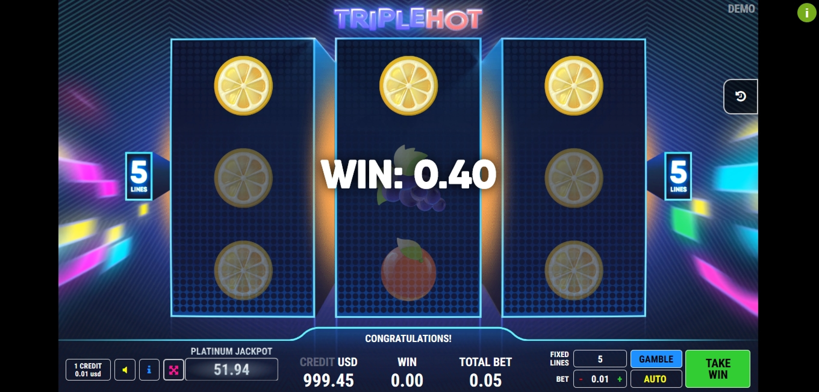 Win Money in Triple Hot	 Free Slot Game by Fazi