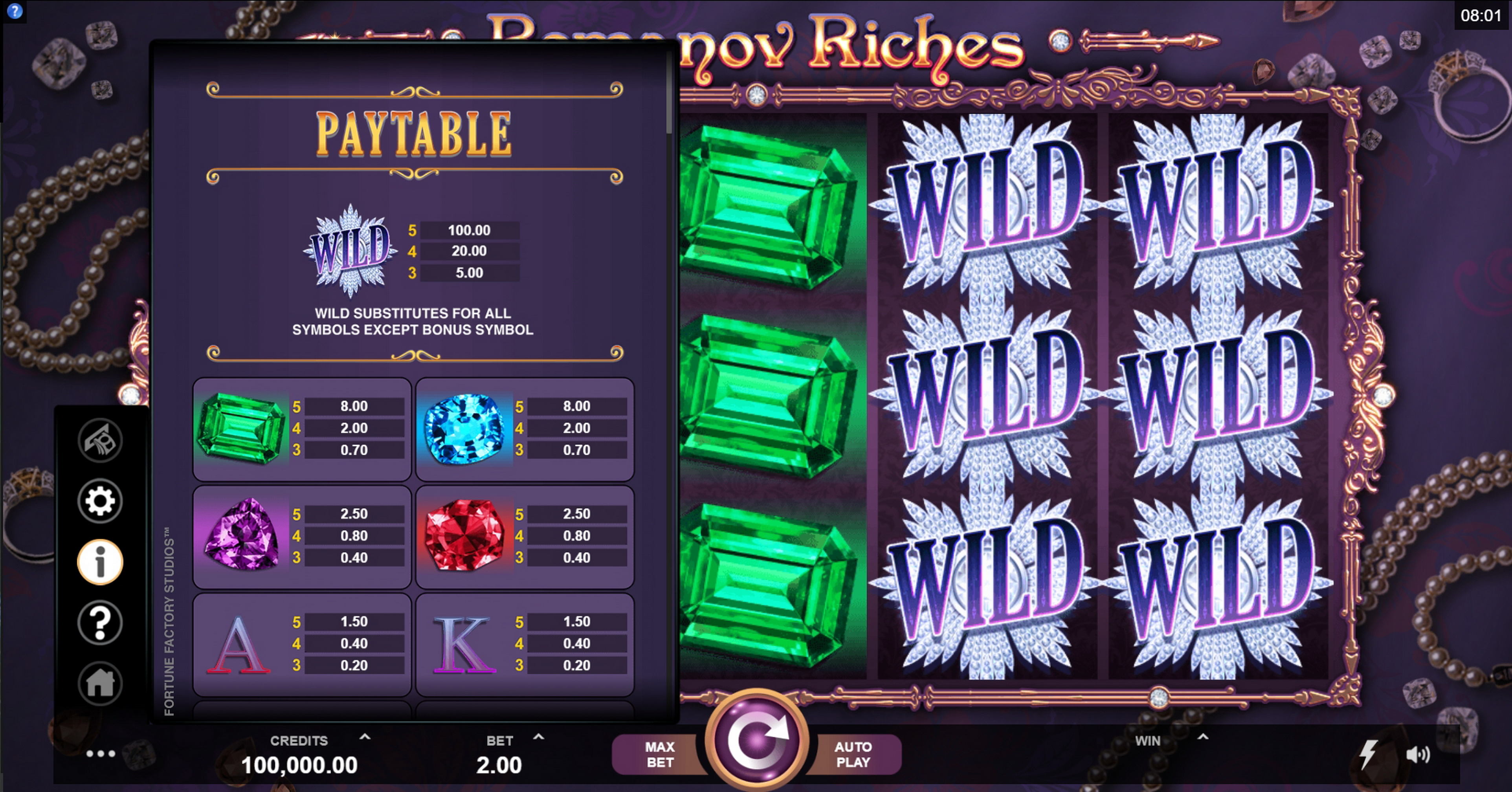 Info of Romanov Riches Slot Game by Fortune Factory Studios