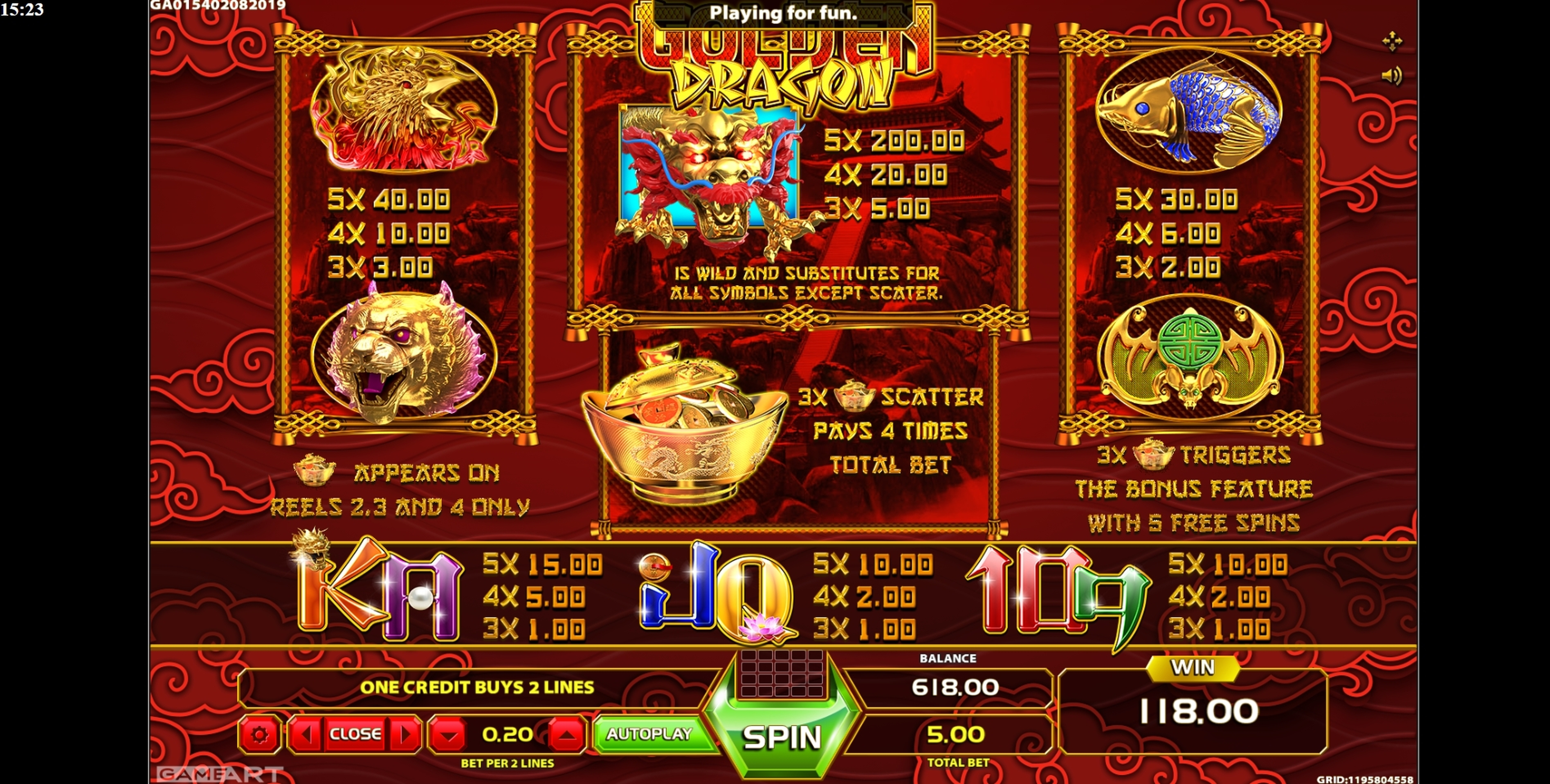 Info of Golden Dragon (GameArt) Slot Game by GameArt