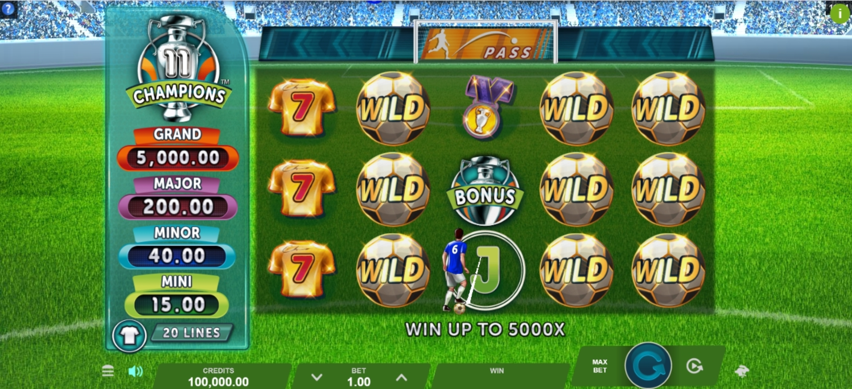 Reels in 11 Champions Slot Game by Gameburger Studios