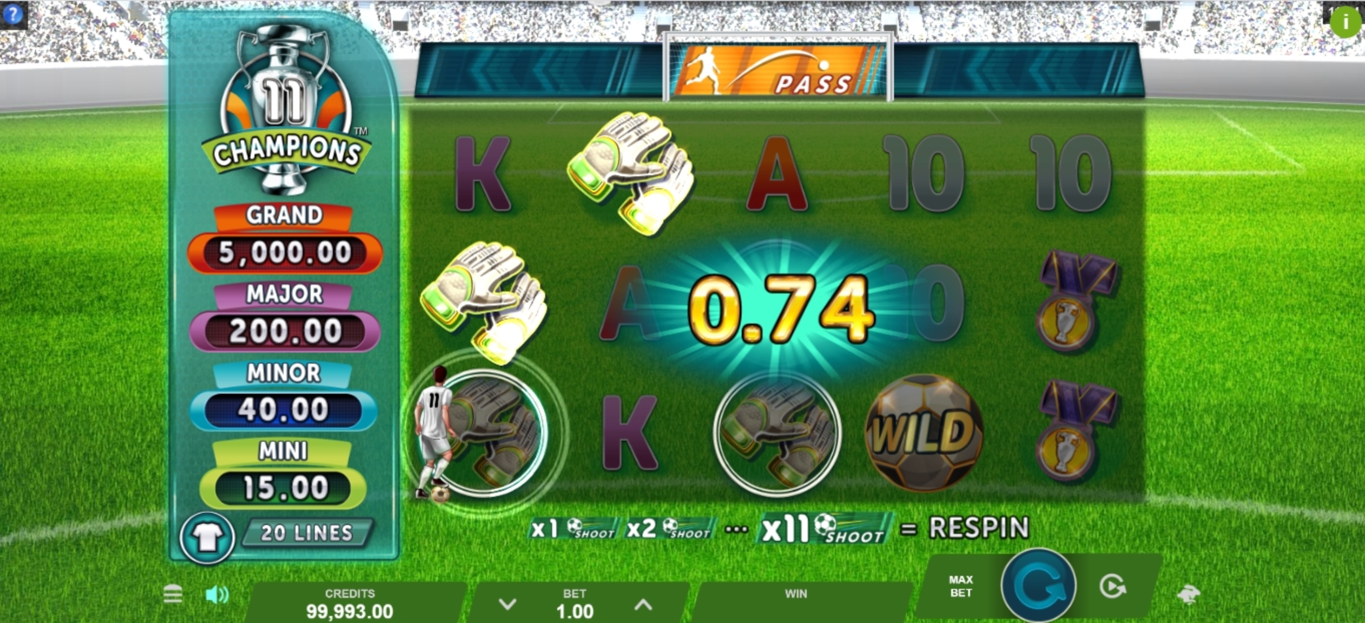 Win Money in 11 Champions Free Slot Game by Gameburger Studios