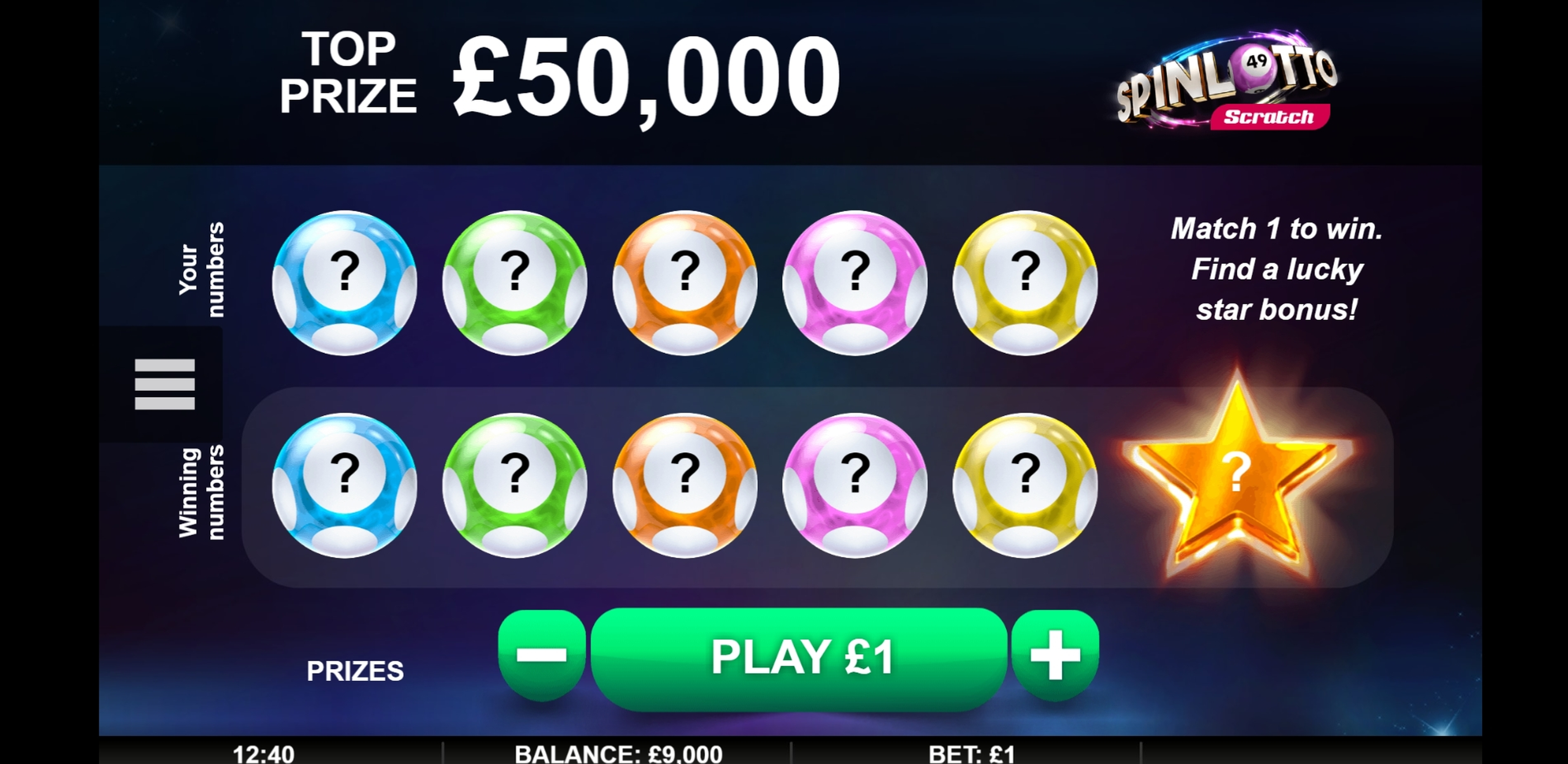 Reels in Spinlotto Scratch Slot Game by Gamevy