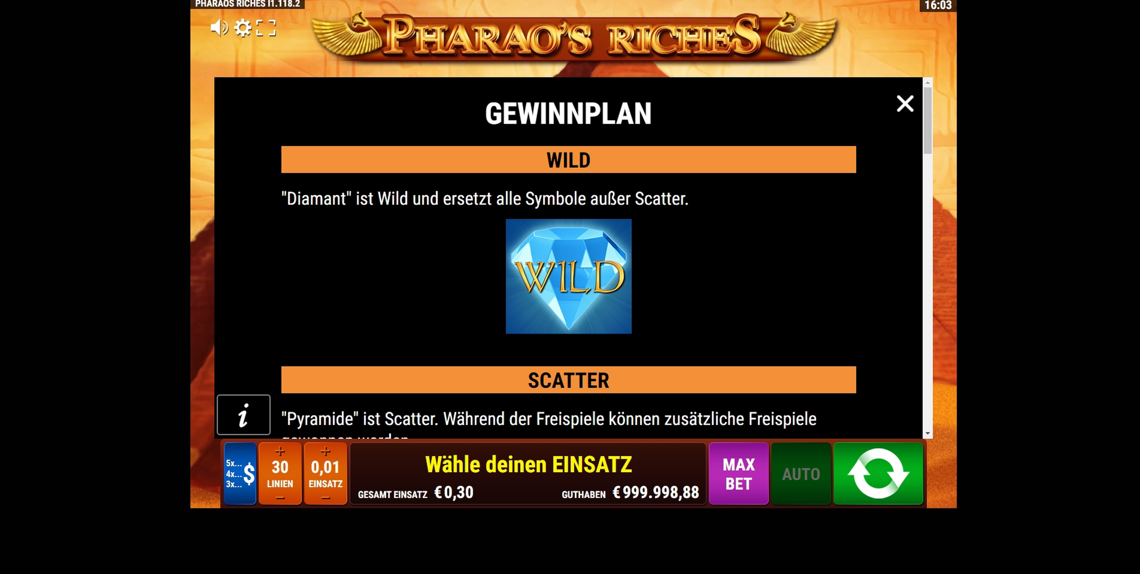 Info of Pharao's Riches Slot Game by Gamomat