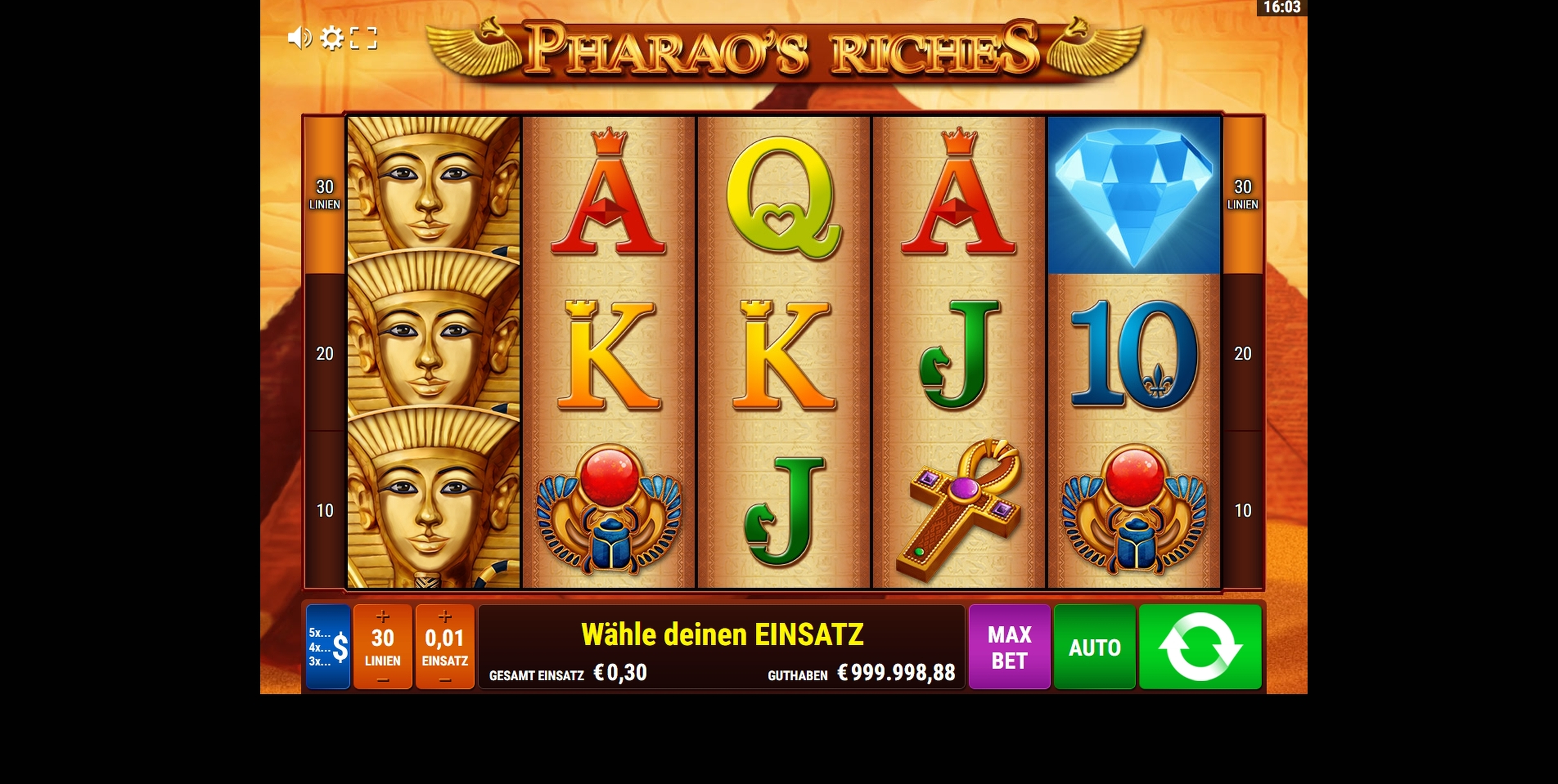 Reels in Pharao's Riches Slot Game by Gamomat