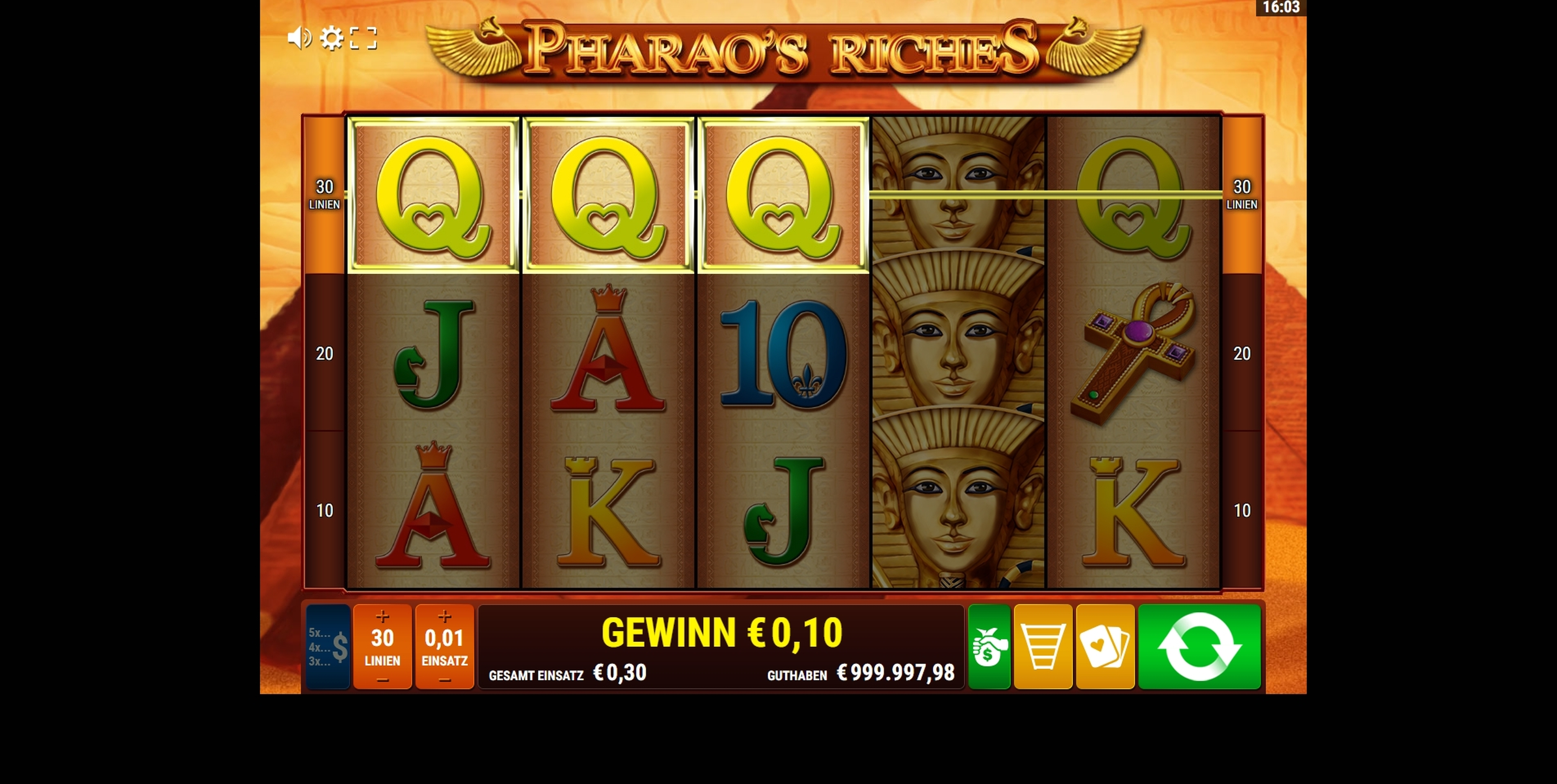 Win Money in Pharao's Riches Free Slot Game by Gamomat