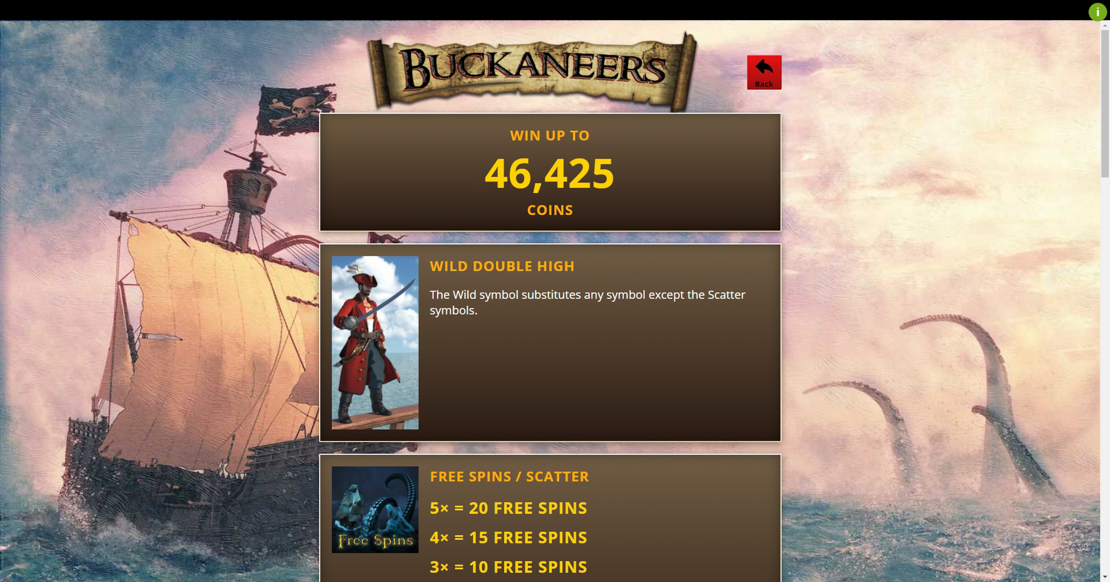 Info of Buckaneers Slot Game by Genii