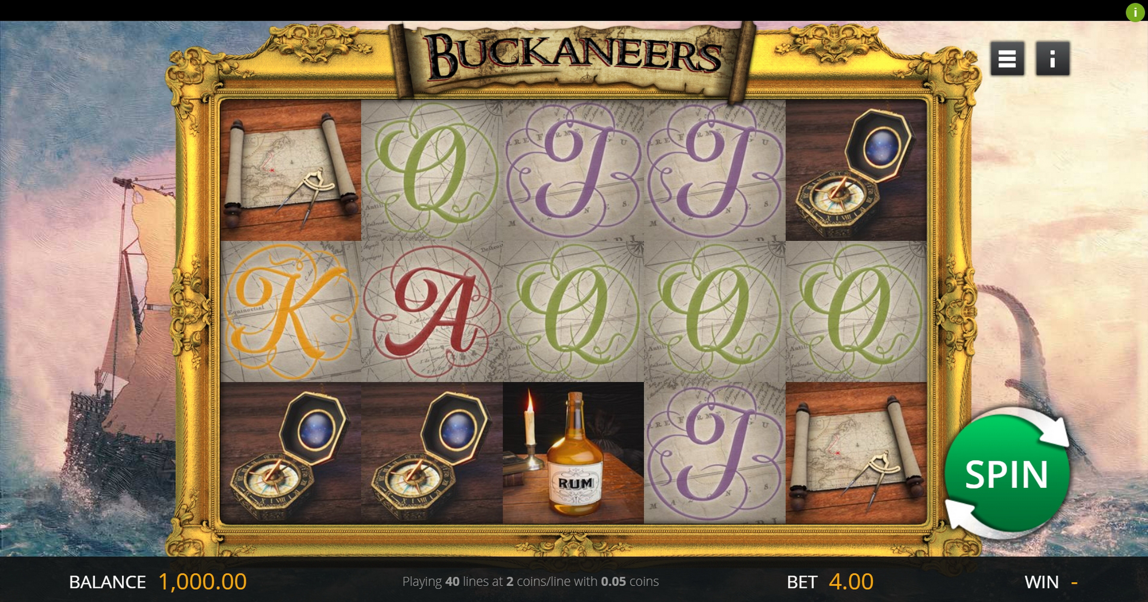 Reels in Buckaneers Slot Game by Genii