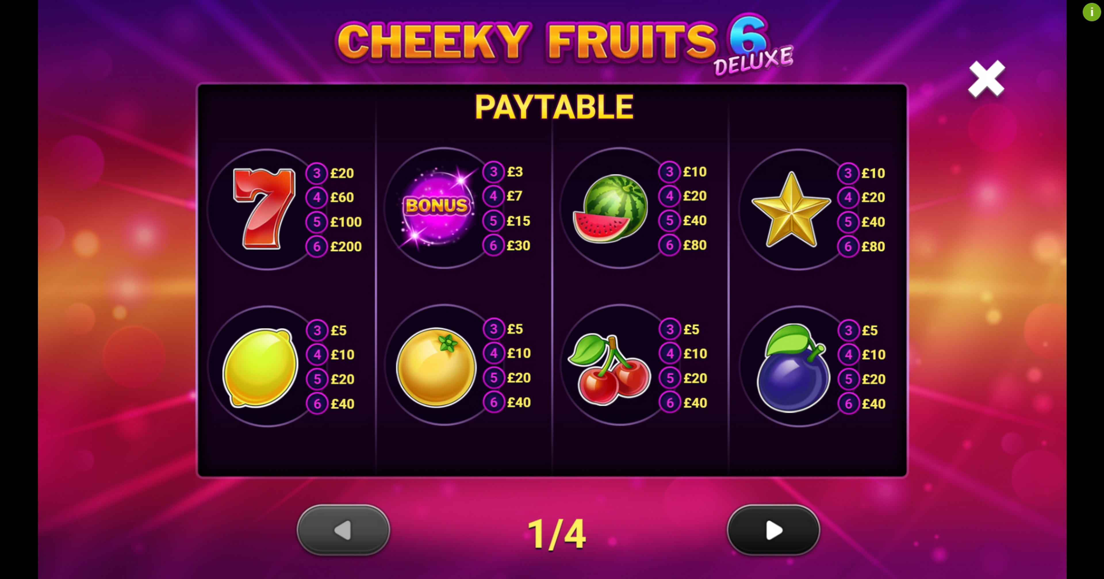 Info of Cheeky Fruits 6 Deluxe Slot Game by Gluck Games