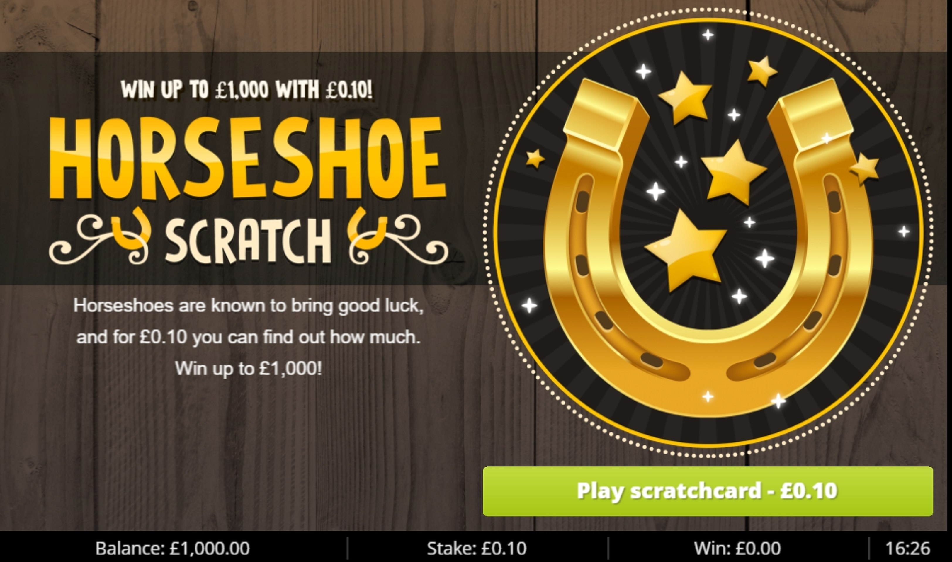 Reels in Horseshoe Scratch Slot Game by Gluck Games