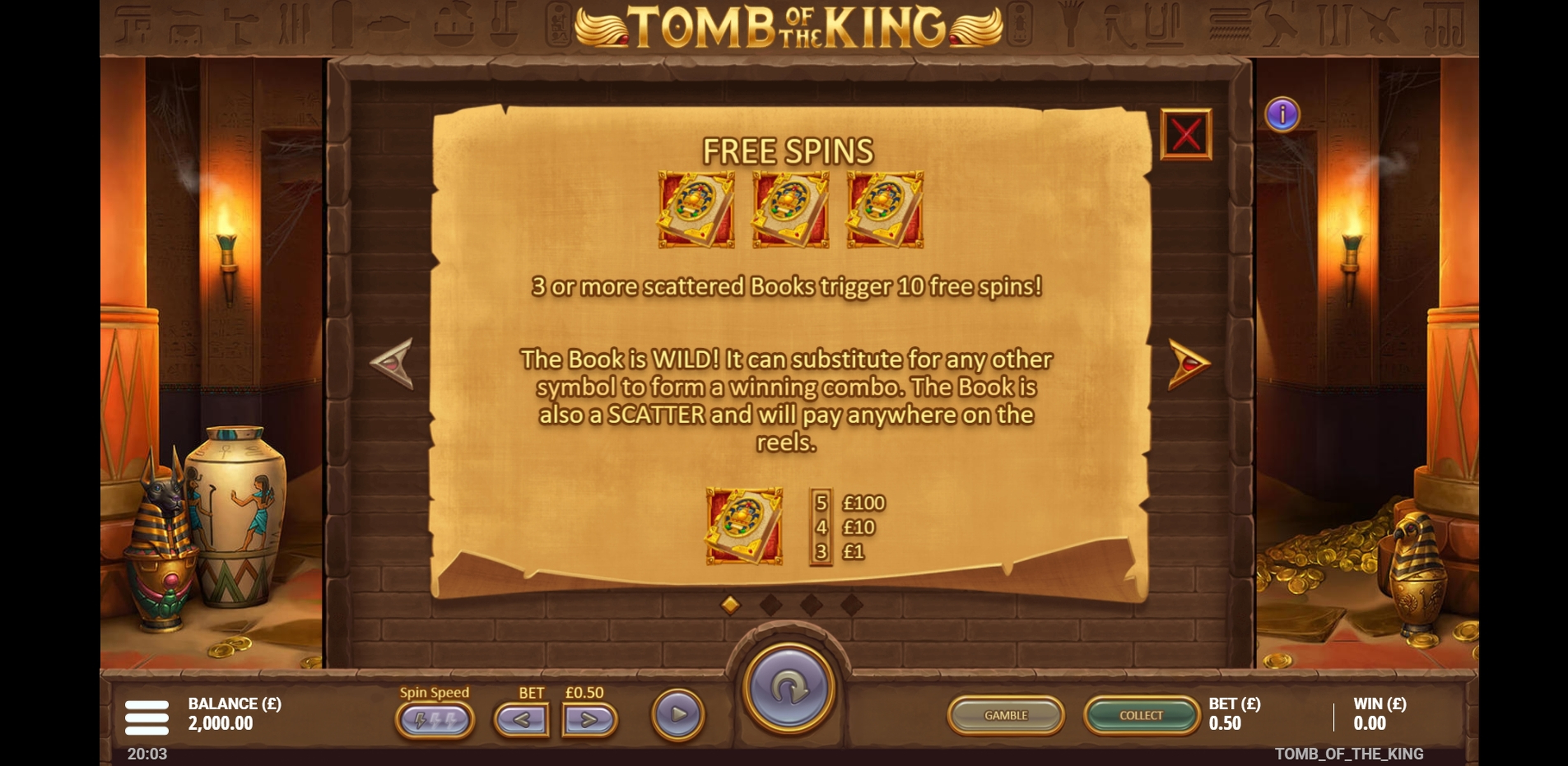 Info of Tomb of the King Slot Game by Gluck Games