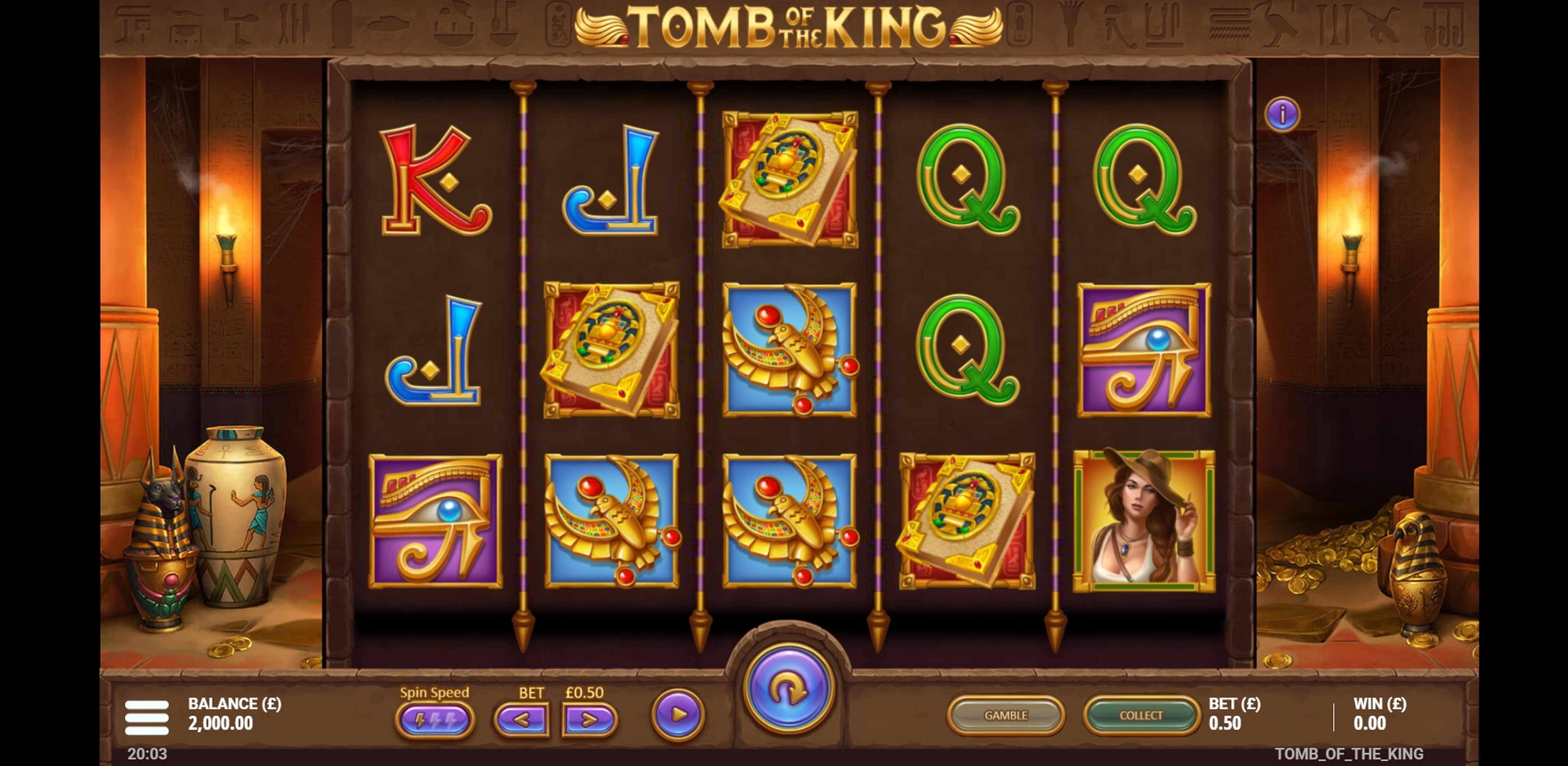 Reels in Tomb of the King Slot Game by Gluck Games