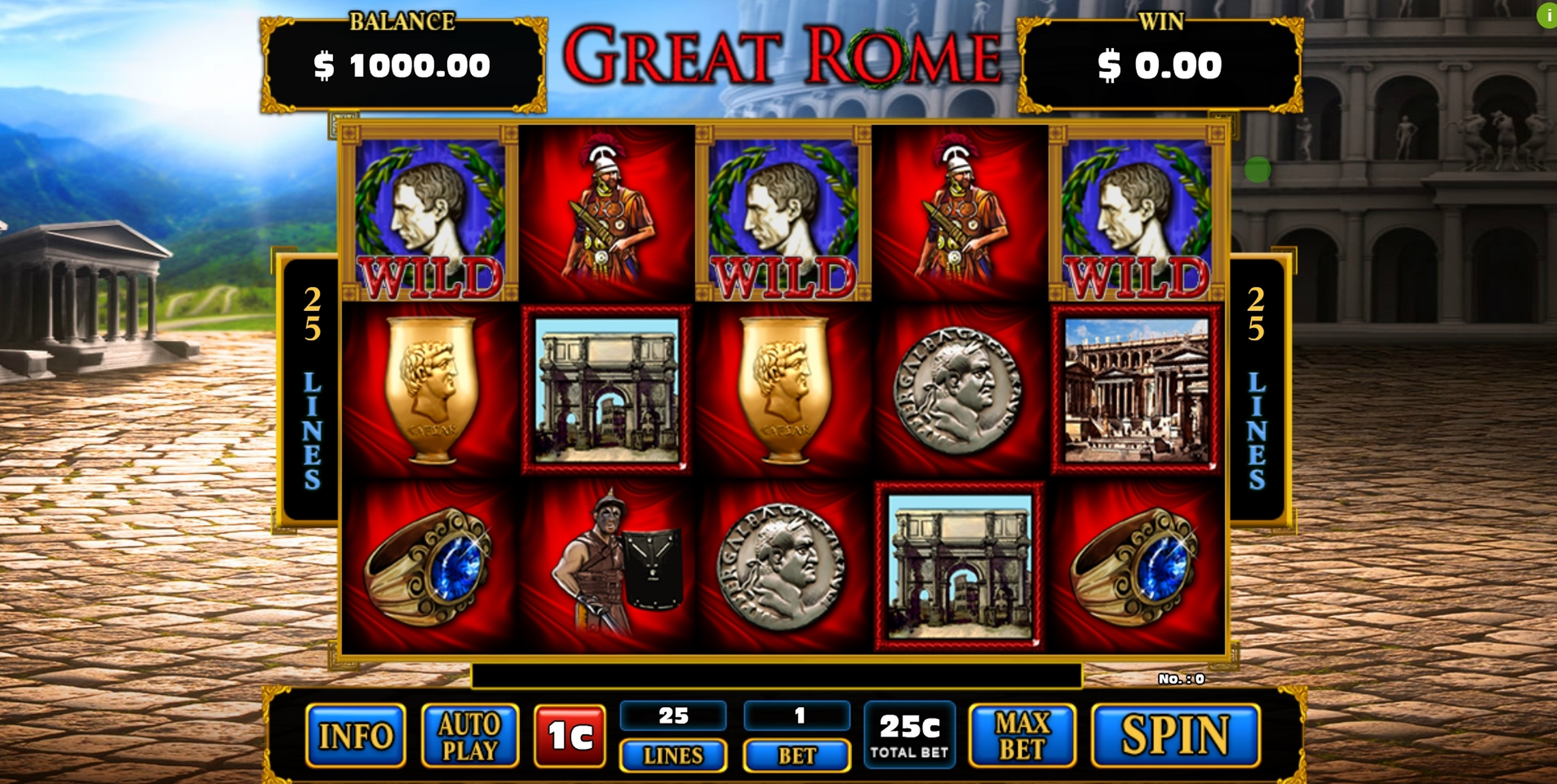 Reels in Great Rome Slot Game by GMW