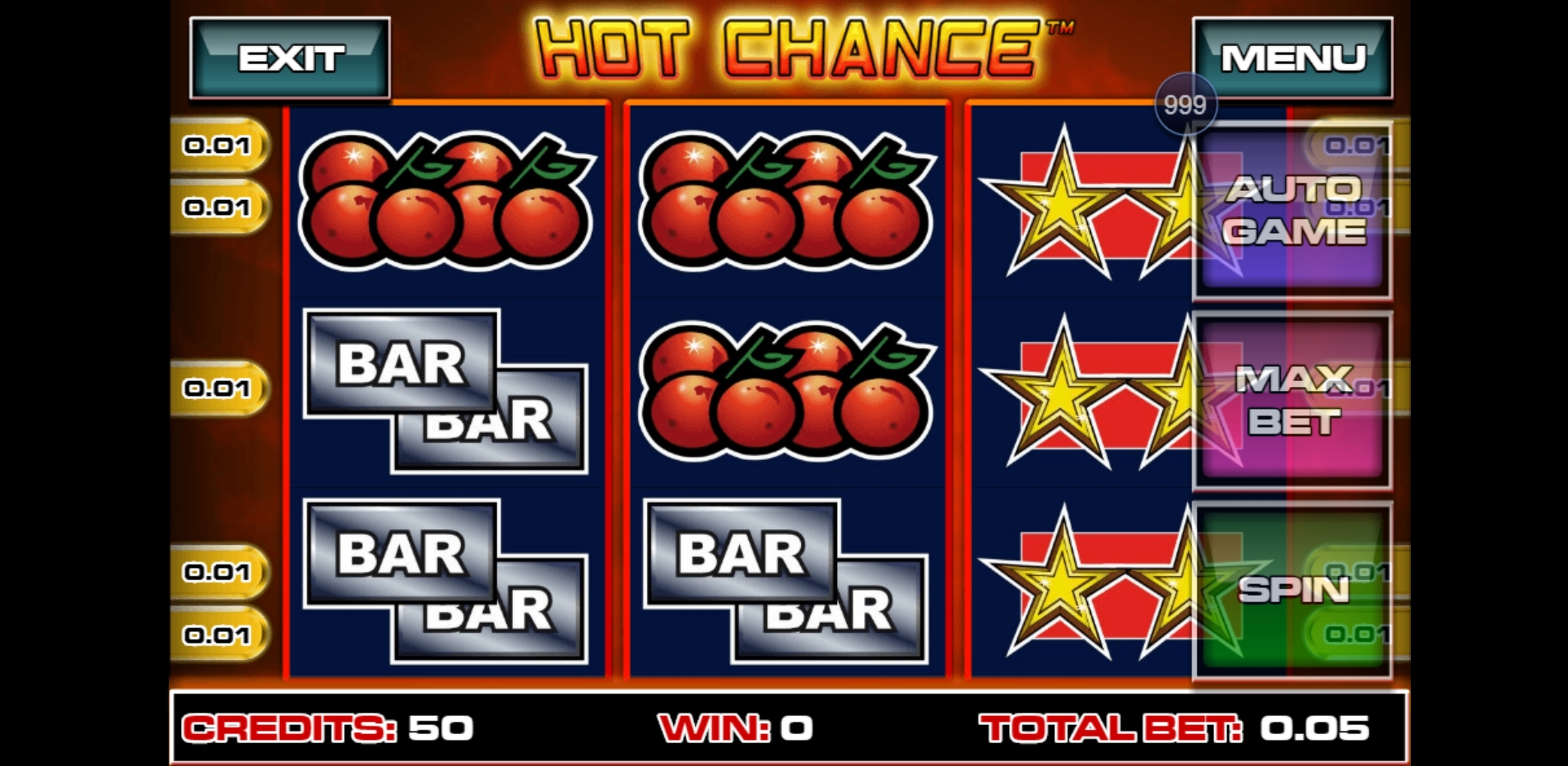 Reels in Hot Chance Slot Game by Greentube