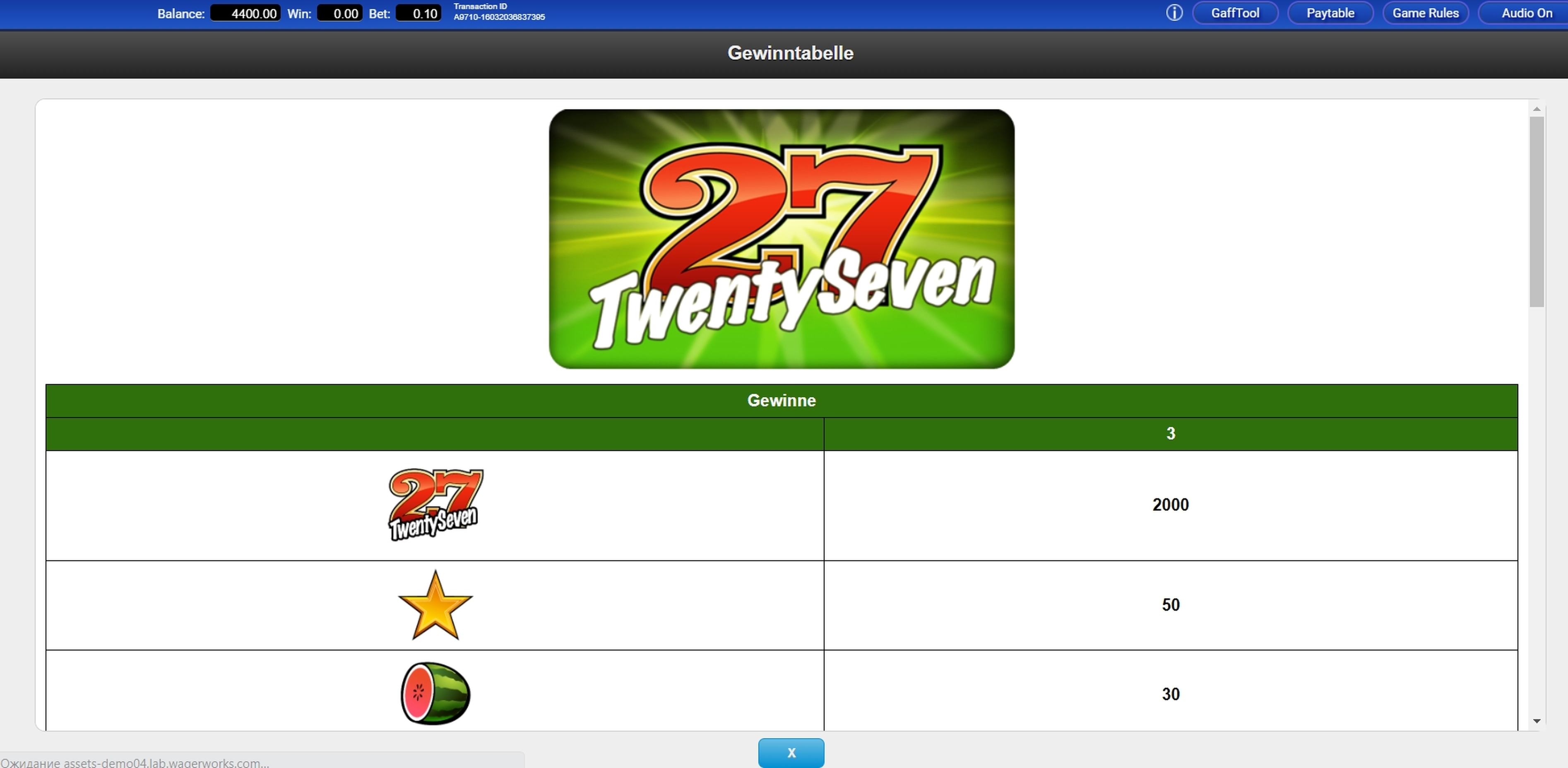 Info of Twenty Seven Slot Game by IGT
