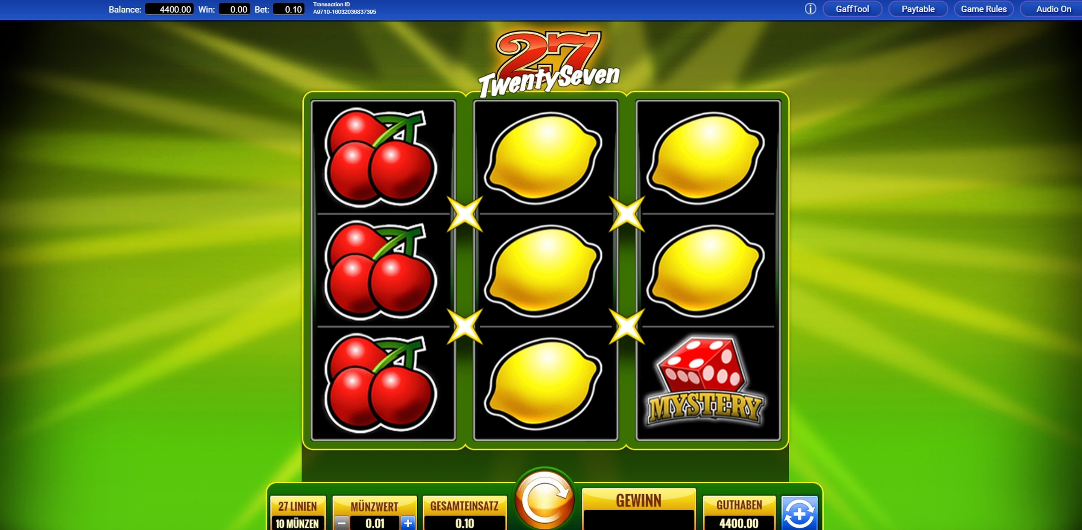 Reels in Twenty Seven Slot Game by IGT